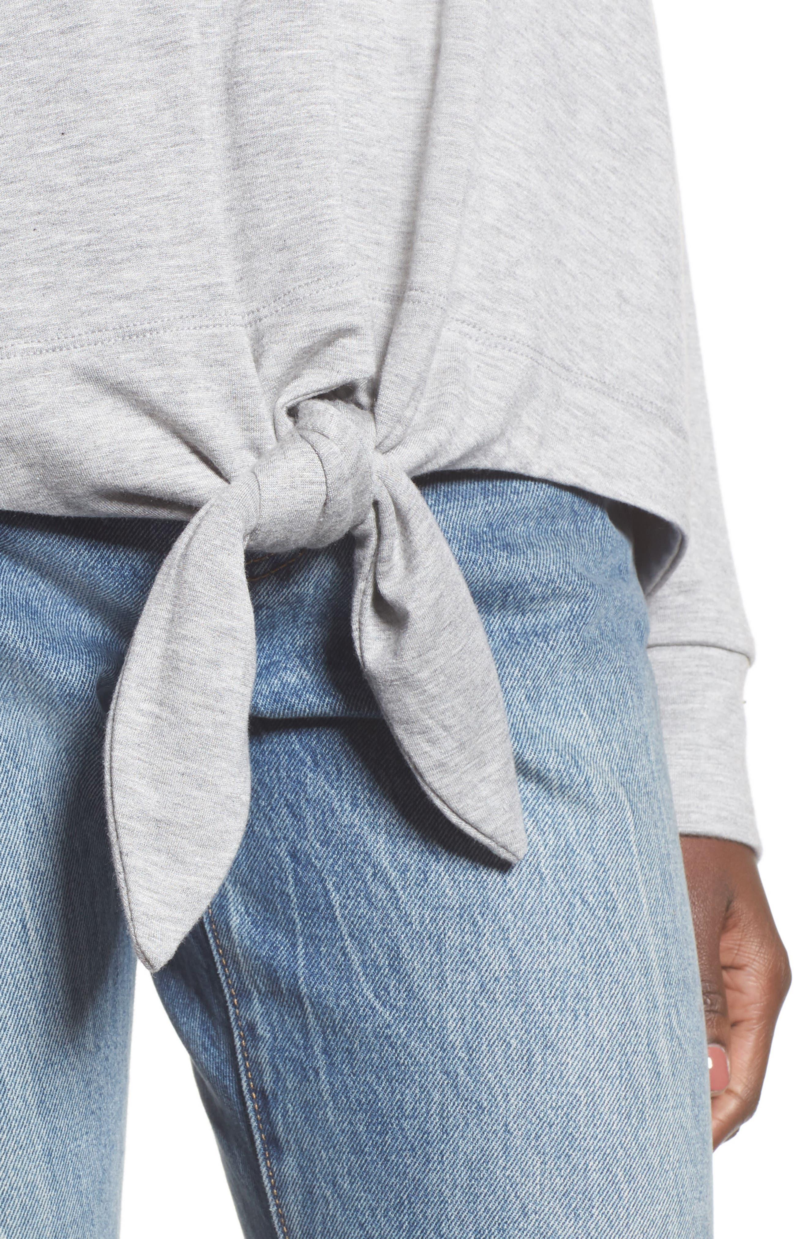 Tie Front Sweatshirt,                             Alternate thumbnail 4, color,                             036