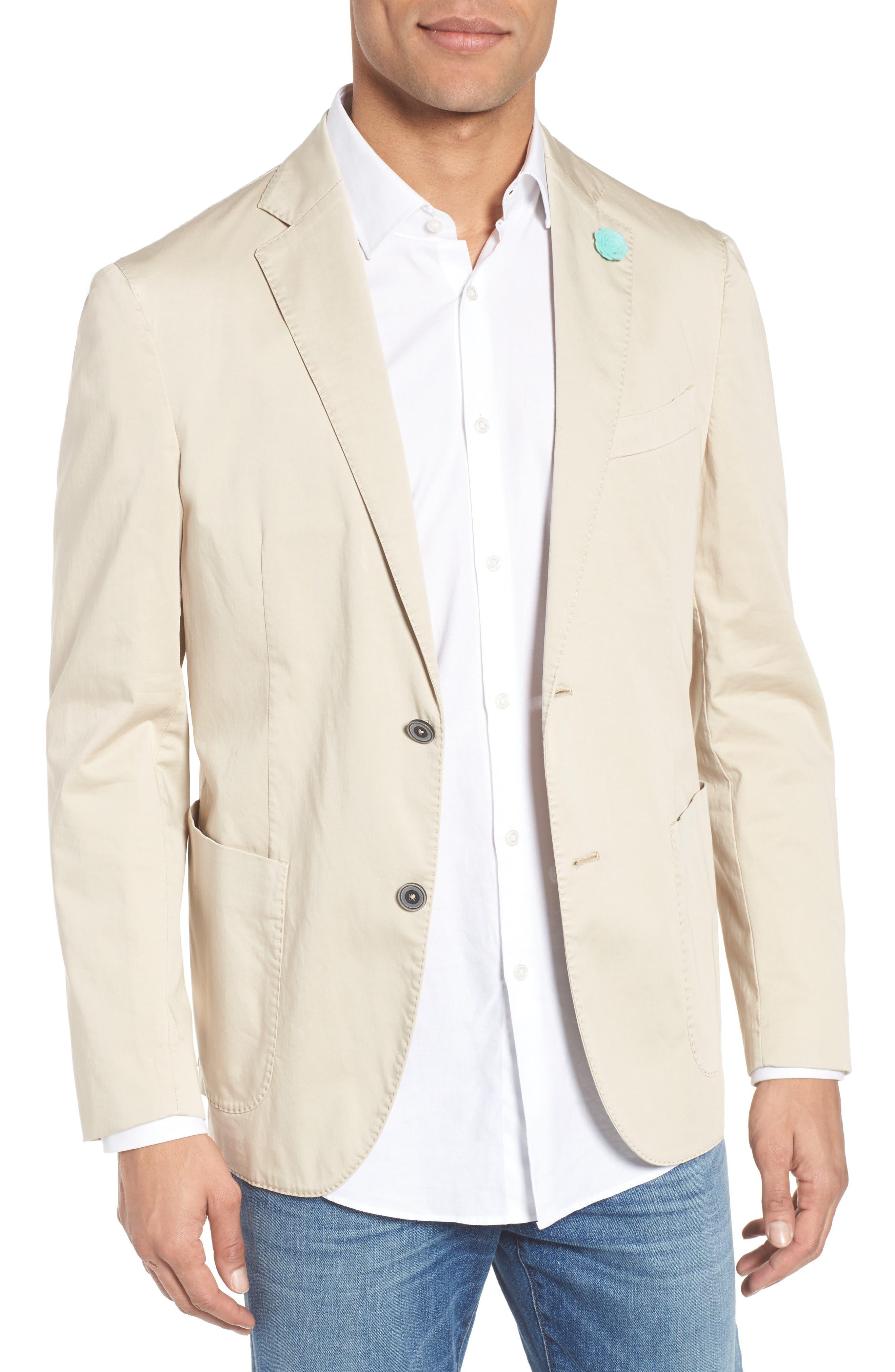 Trim Fit Stretch Cotton Blazer,                             Main thumbnail 1, color,                             250