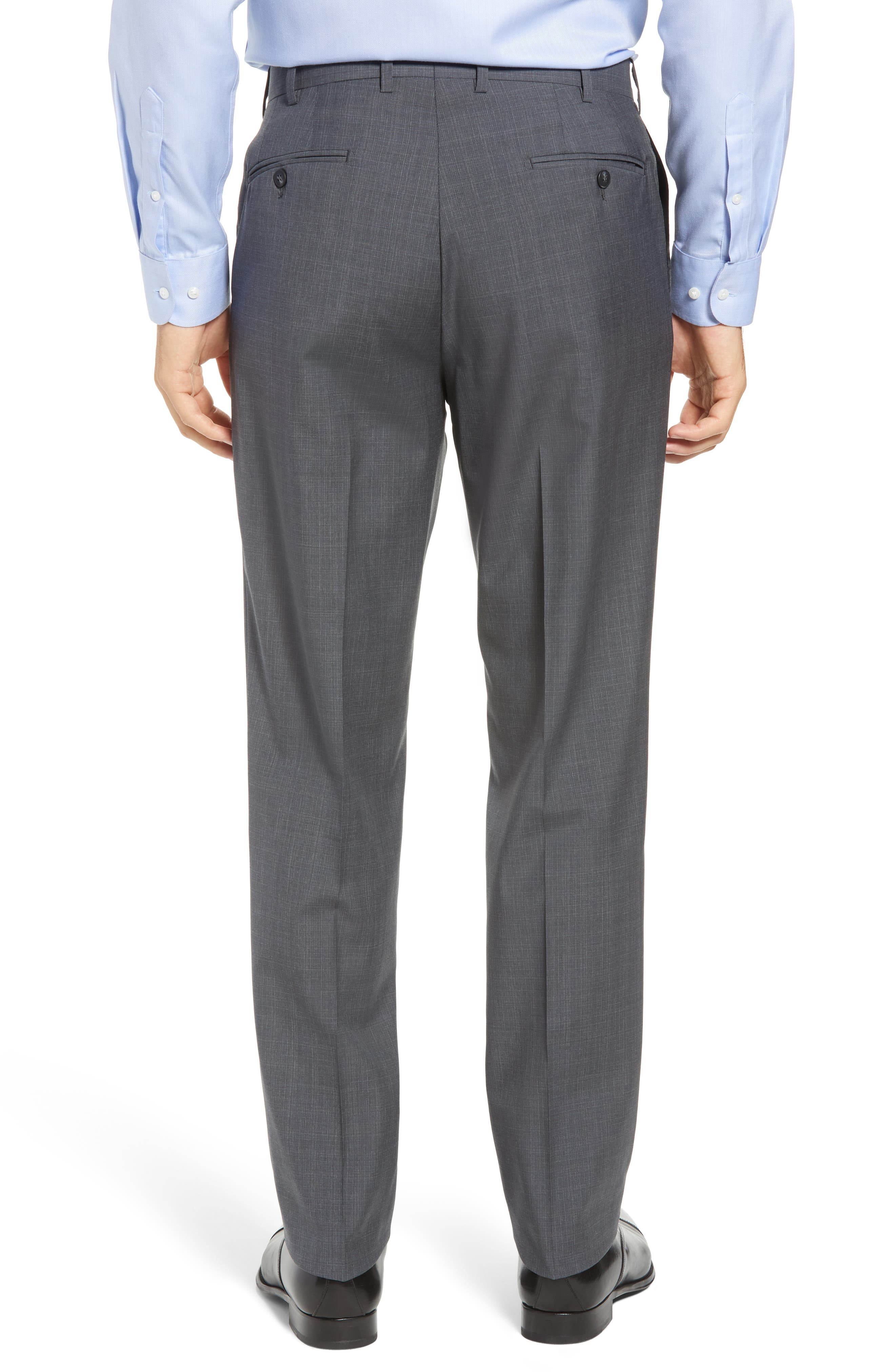 Torino Traditional Fit Flat Front Plaid Wool Trousers,                             Alternate thumbnail 2, color,                             GREY