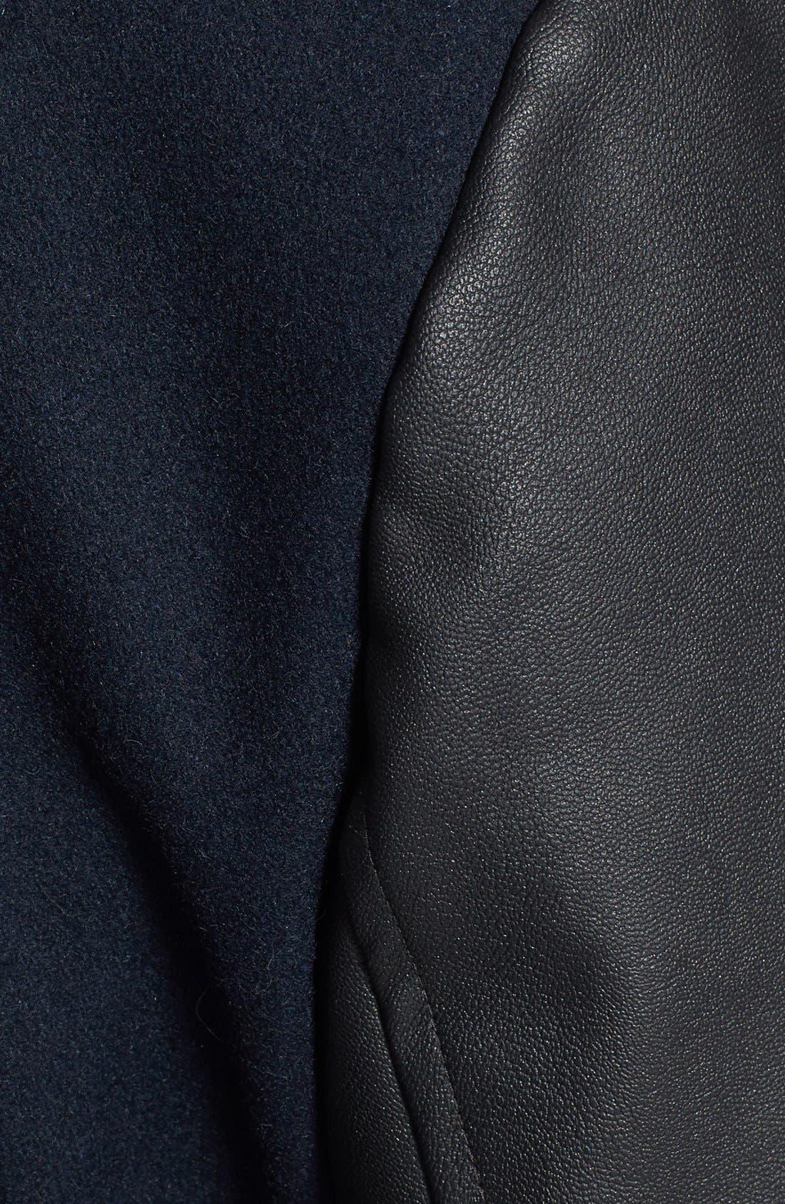 Wool Blend & Faux Leather Coat,                             Alternate thumbnail 2, color,                             410