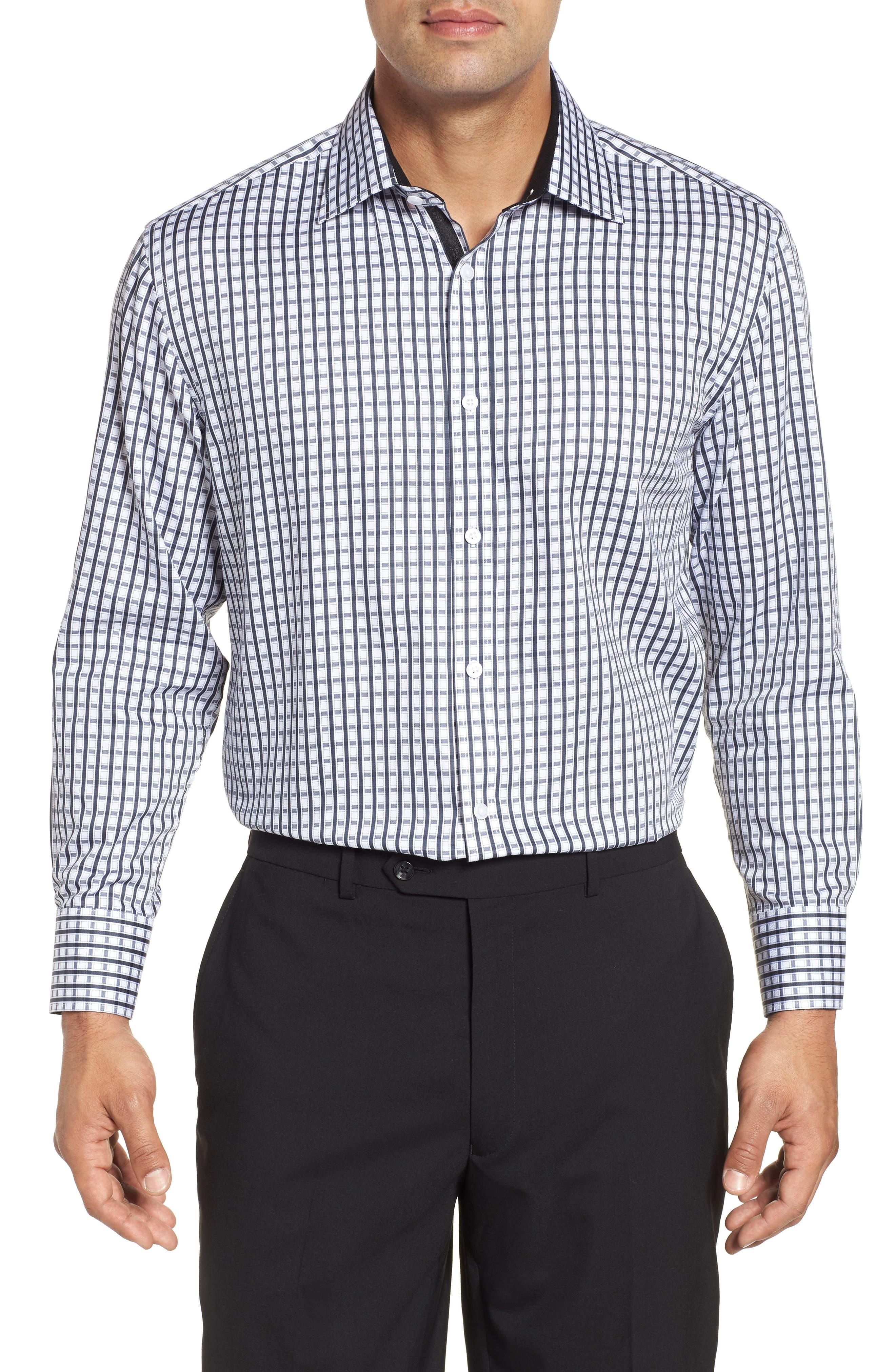 Regular Fit Check Dress Shirt,                         Main,                         color, BLACK