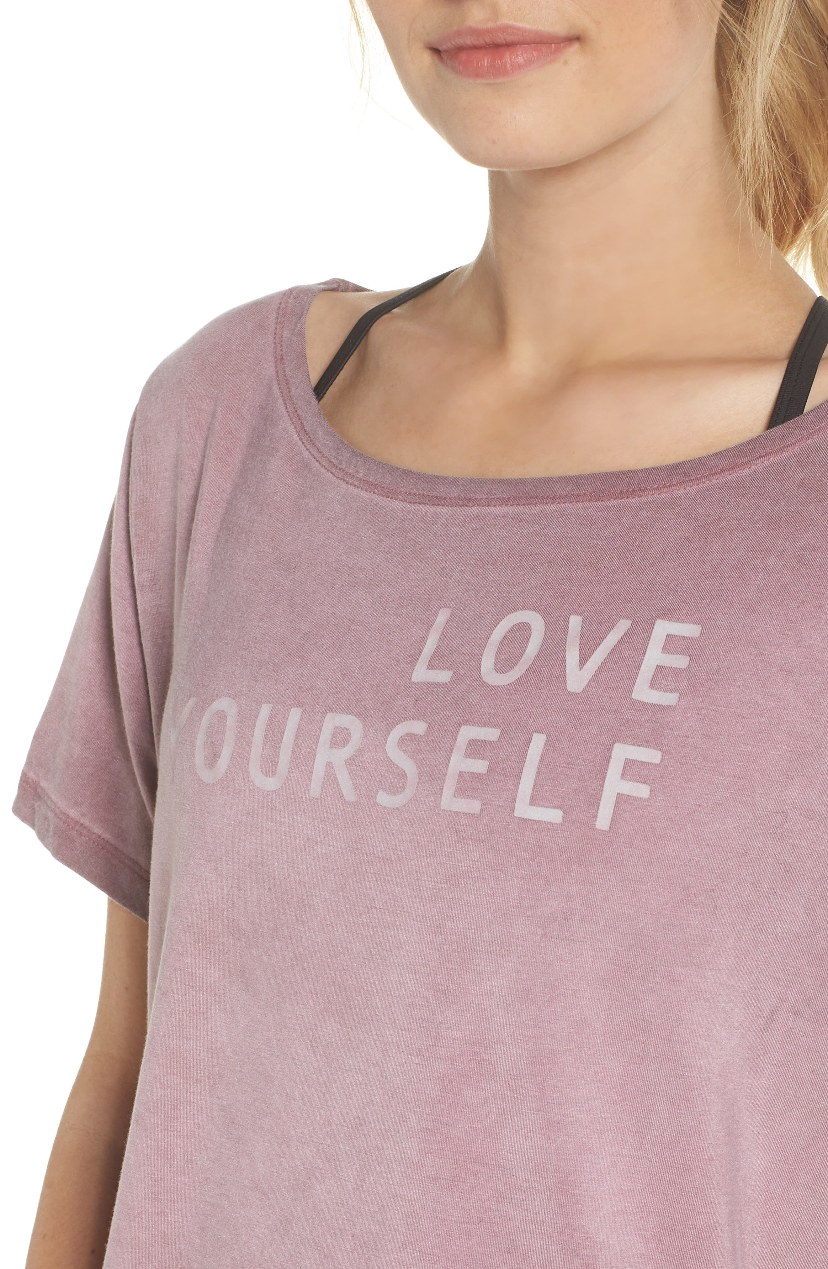 Payton Love Yourself Crop Tee,                             Alternate thumbnail 4, color,                             ROSEWOOD OIL WASH