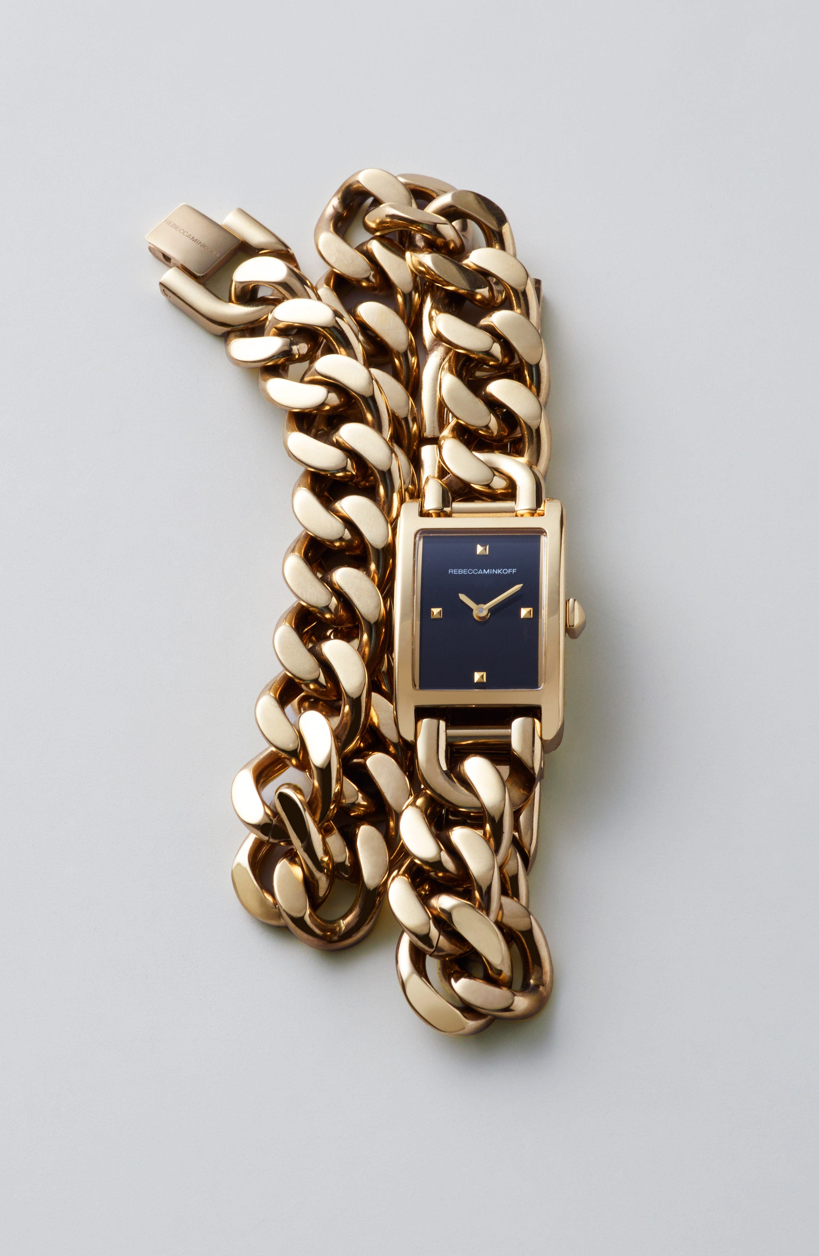 Moment Chain Wrap Bracelet Watch, 19mm x 30mm,                             Alternate thumbnail 6, color,                             GOLD/ BLACK/ GOLD
