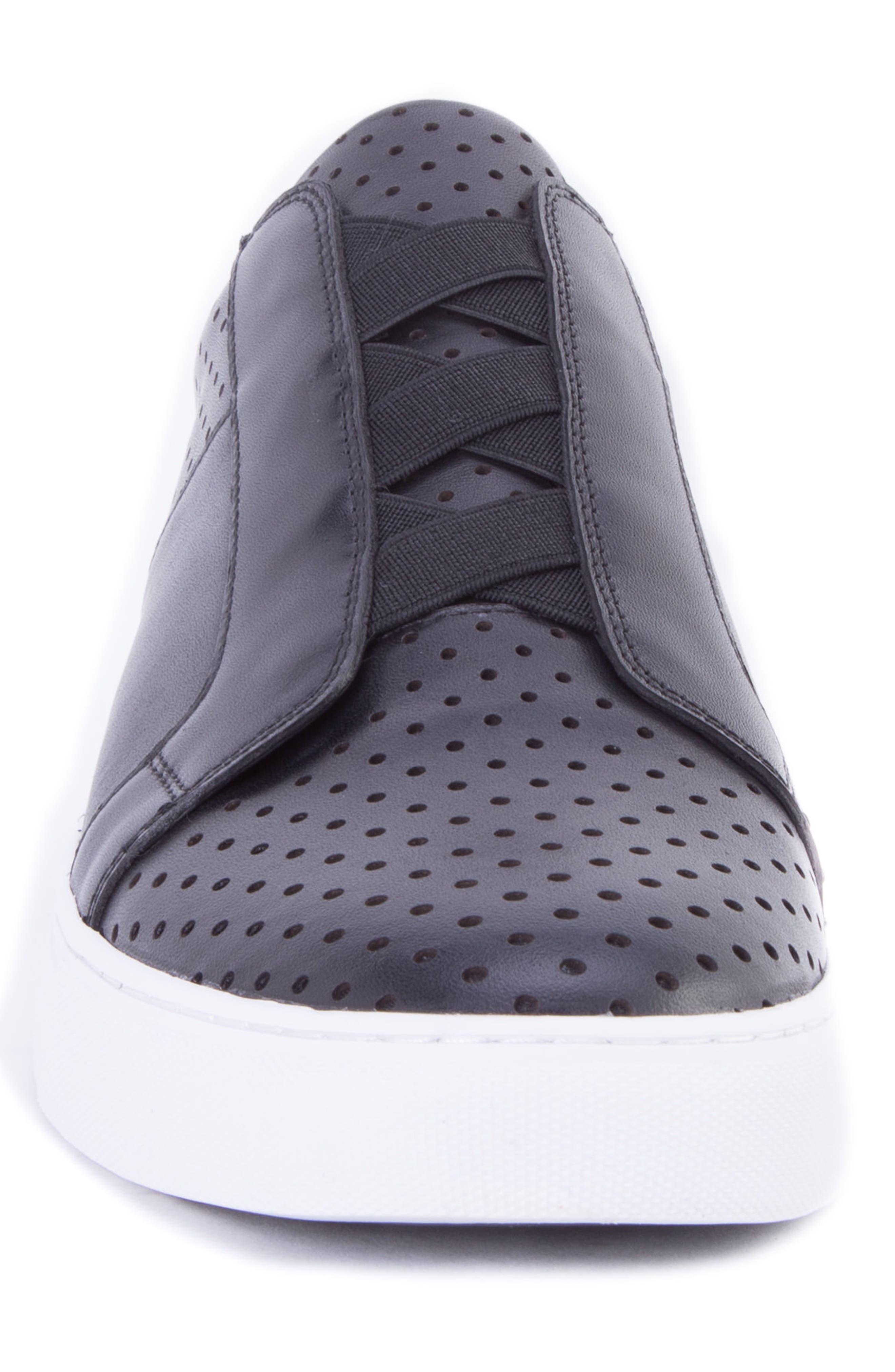 Rowley Perforated Laceless Sneaker,                             Alternate thumbnail 4, color,                             BLACK LEATHER