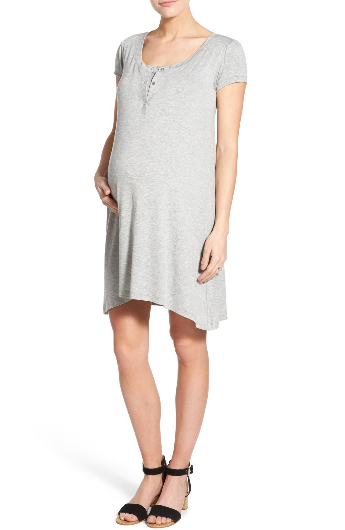 'Poppy' Maternity/Nursing Swing Dress,                             Main thumbnail 1, color,                             HEATHER GRAY
