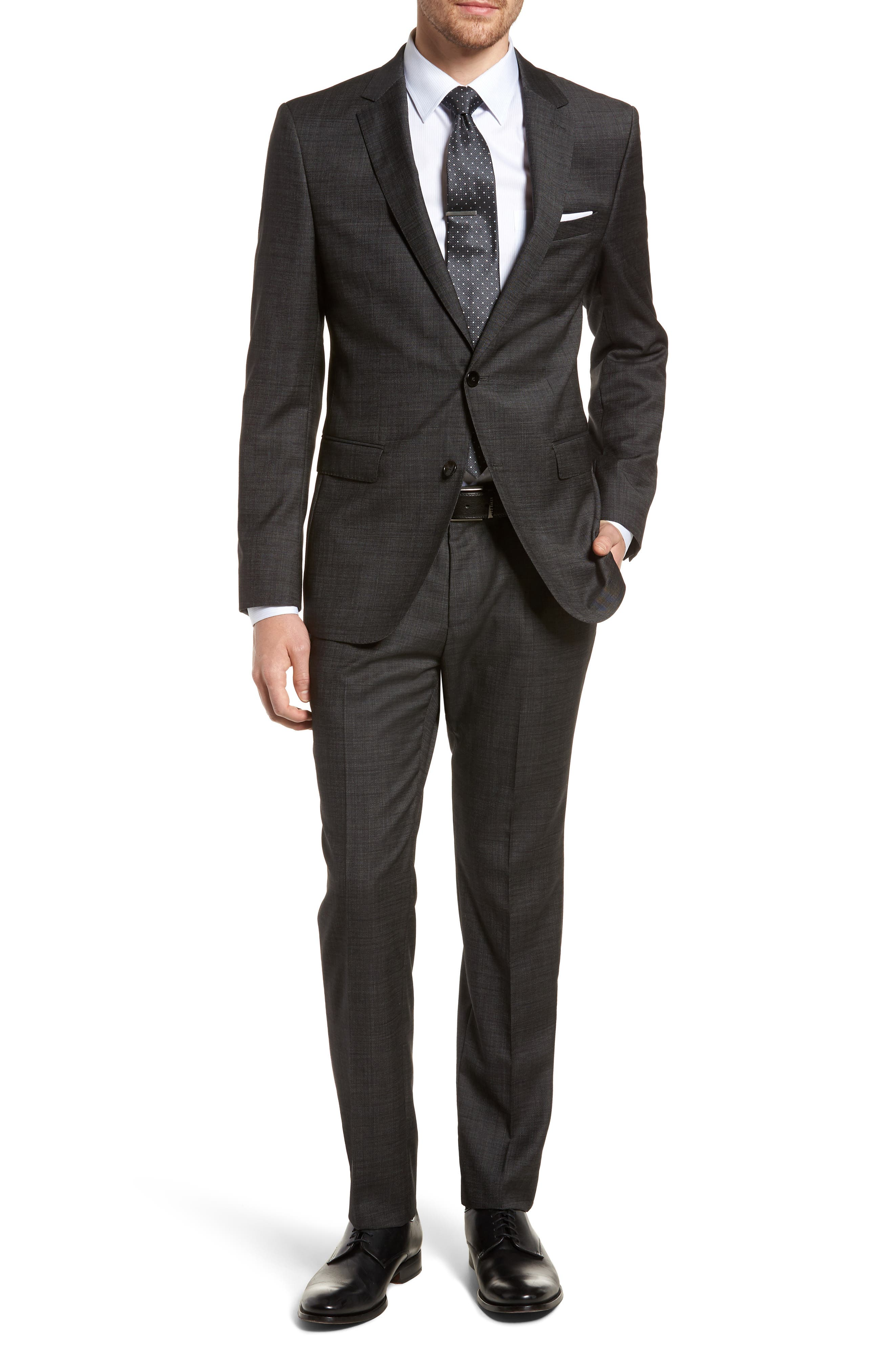 Novan/Ben Trim Fit Solid Wool Suit,                         Main,                         color, 001