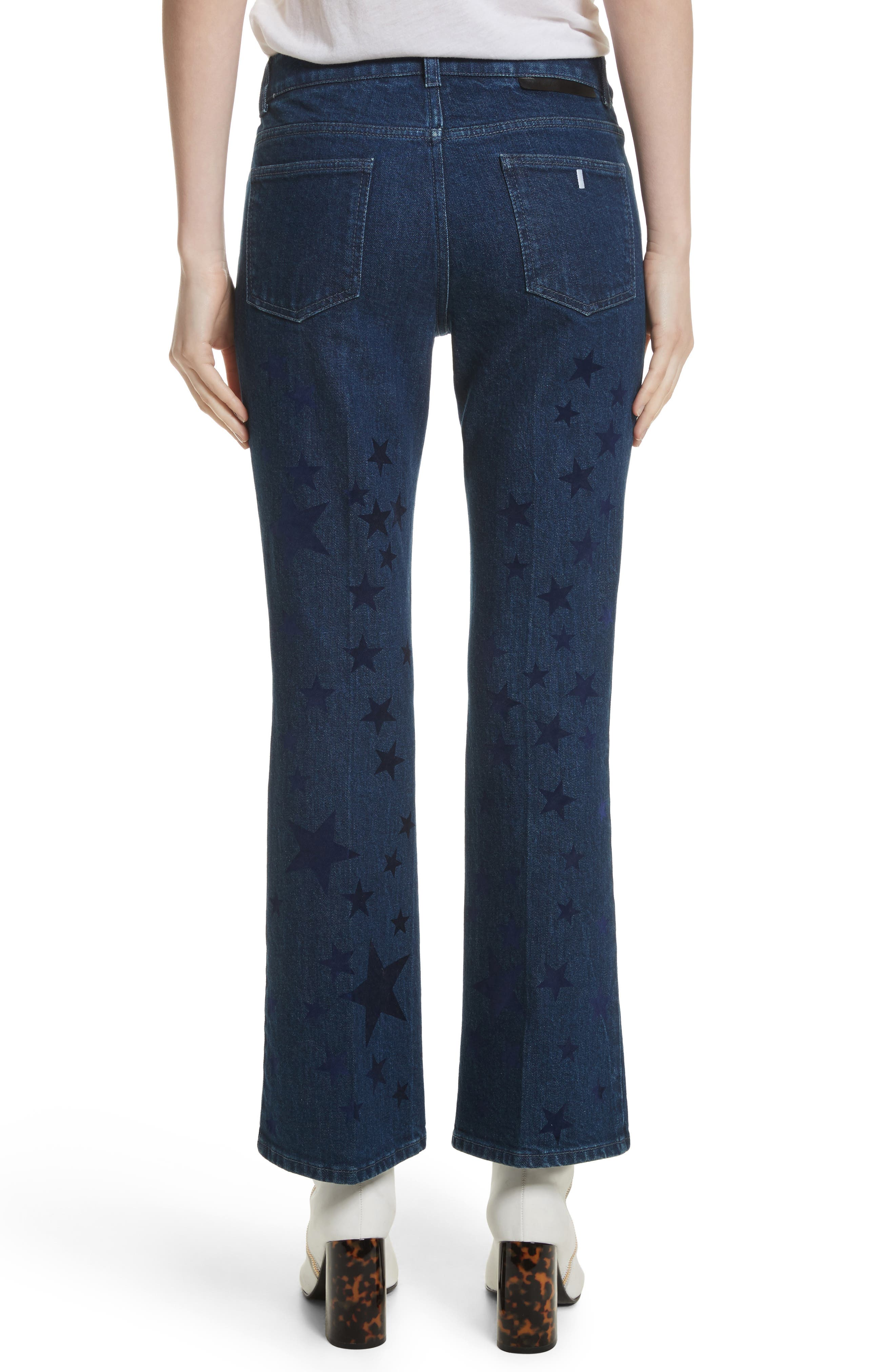 Star Print Crop Flare Jeans,                             Alternate thumbnail 2, color,                             465