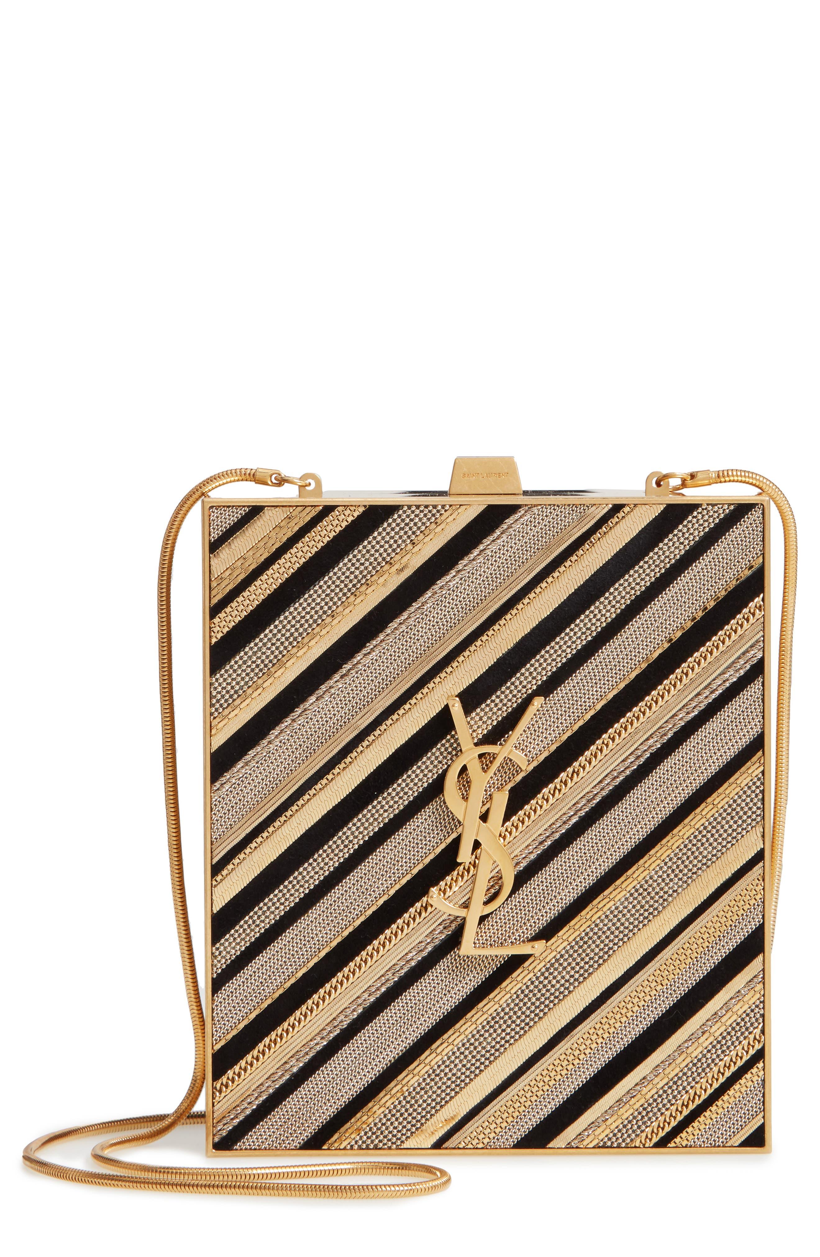Tuxedo Box Clutch,                         Main,                         color, NOIR/ ORO