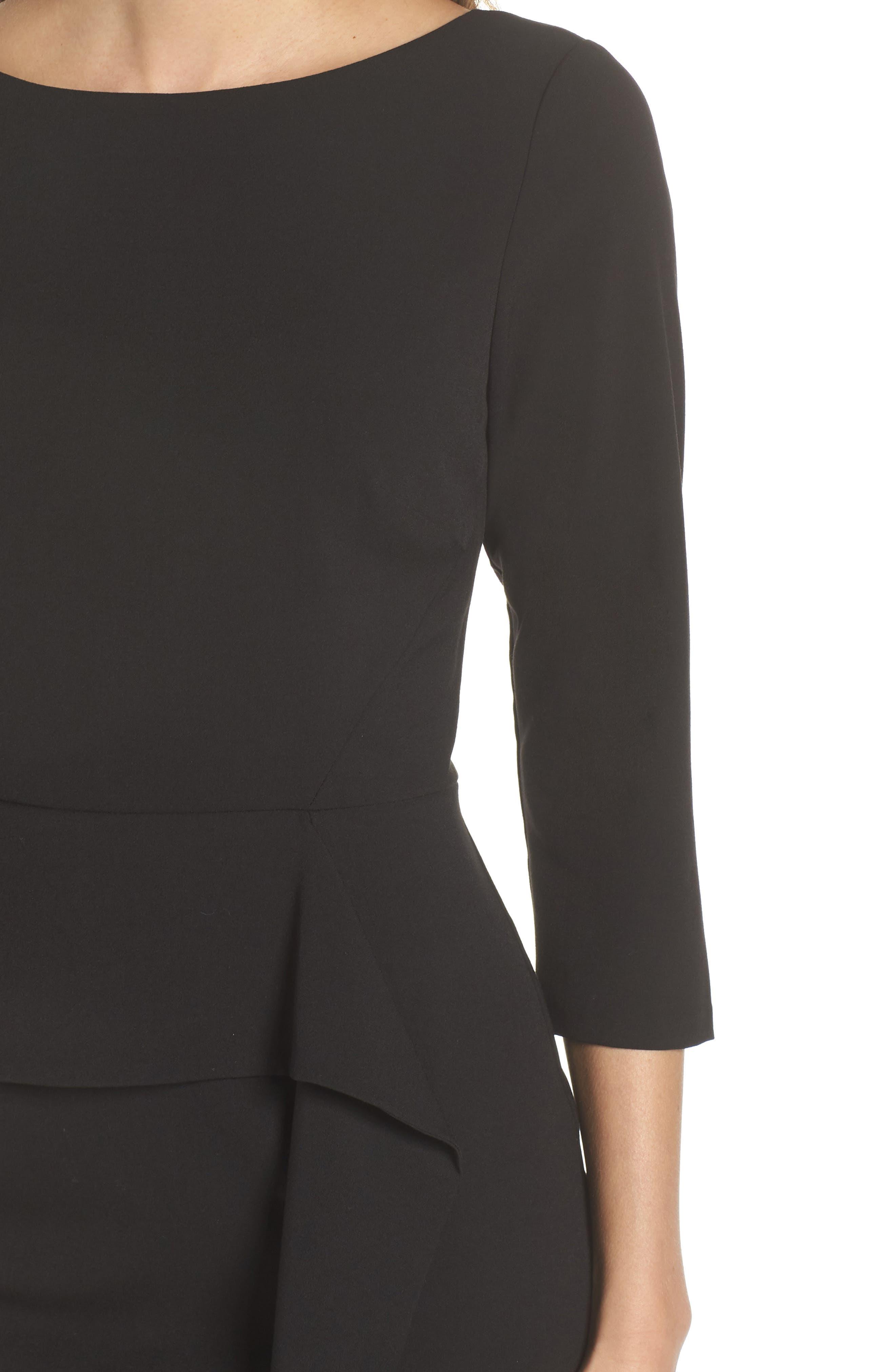 VINCE CAMUTO,                             Angled Ruffle Sheath Dress,                             Alternate thumbnail 5, color,                             BLACK