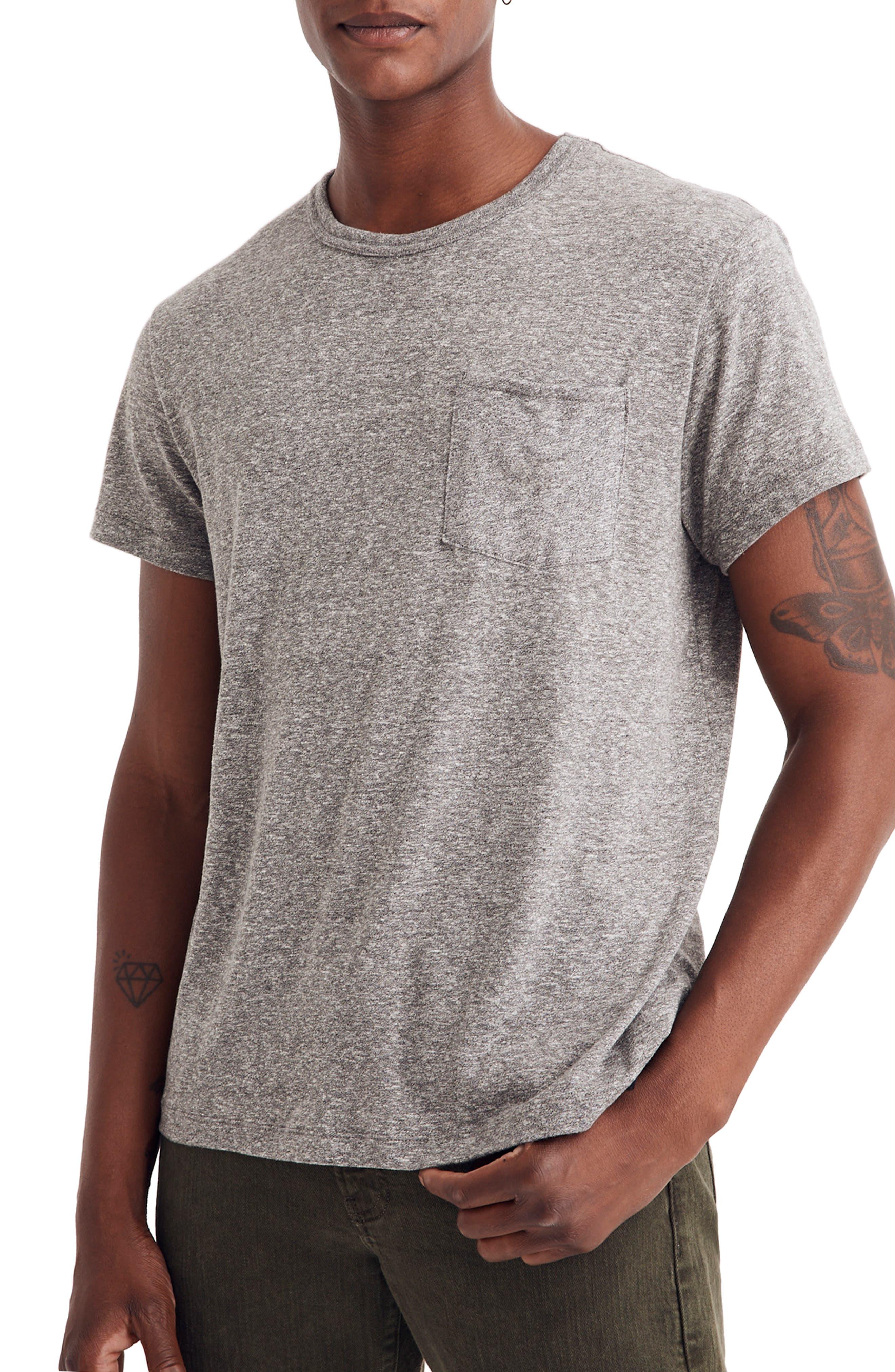 Pocket T-Shirt,                         Main,                         color, HEATHER GREY