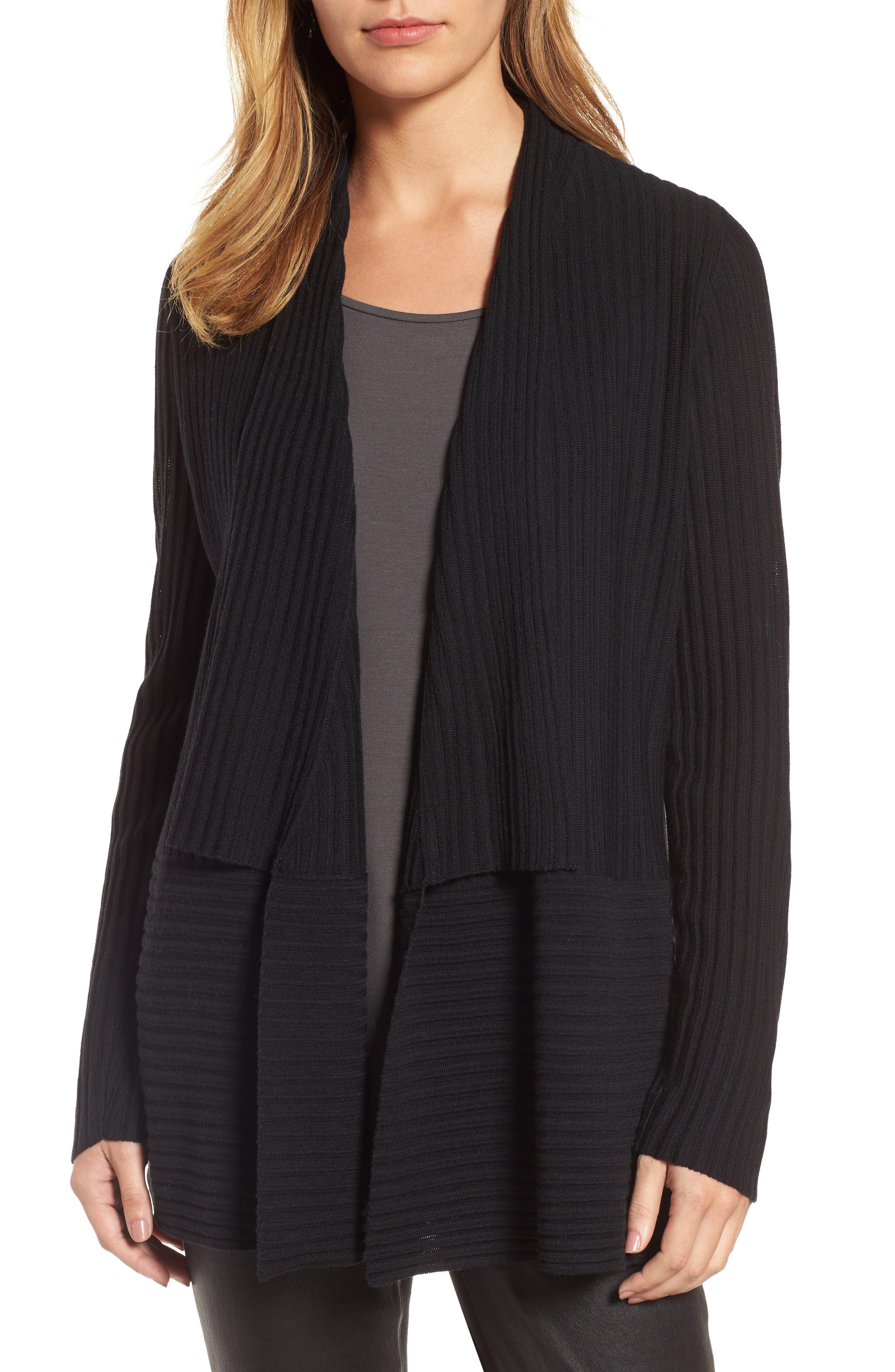 Ribbed Merino Wool Long Cardigan,                         Main,                         color, 001