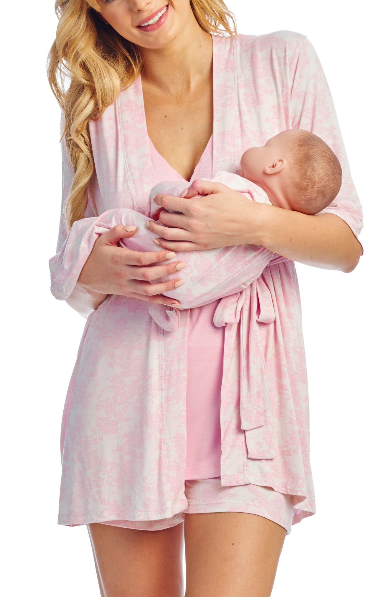 Everly Grey Adalia 5-Piece Maternity/nursing Pajama Set, Pink