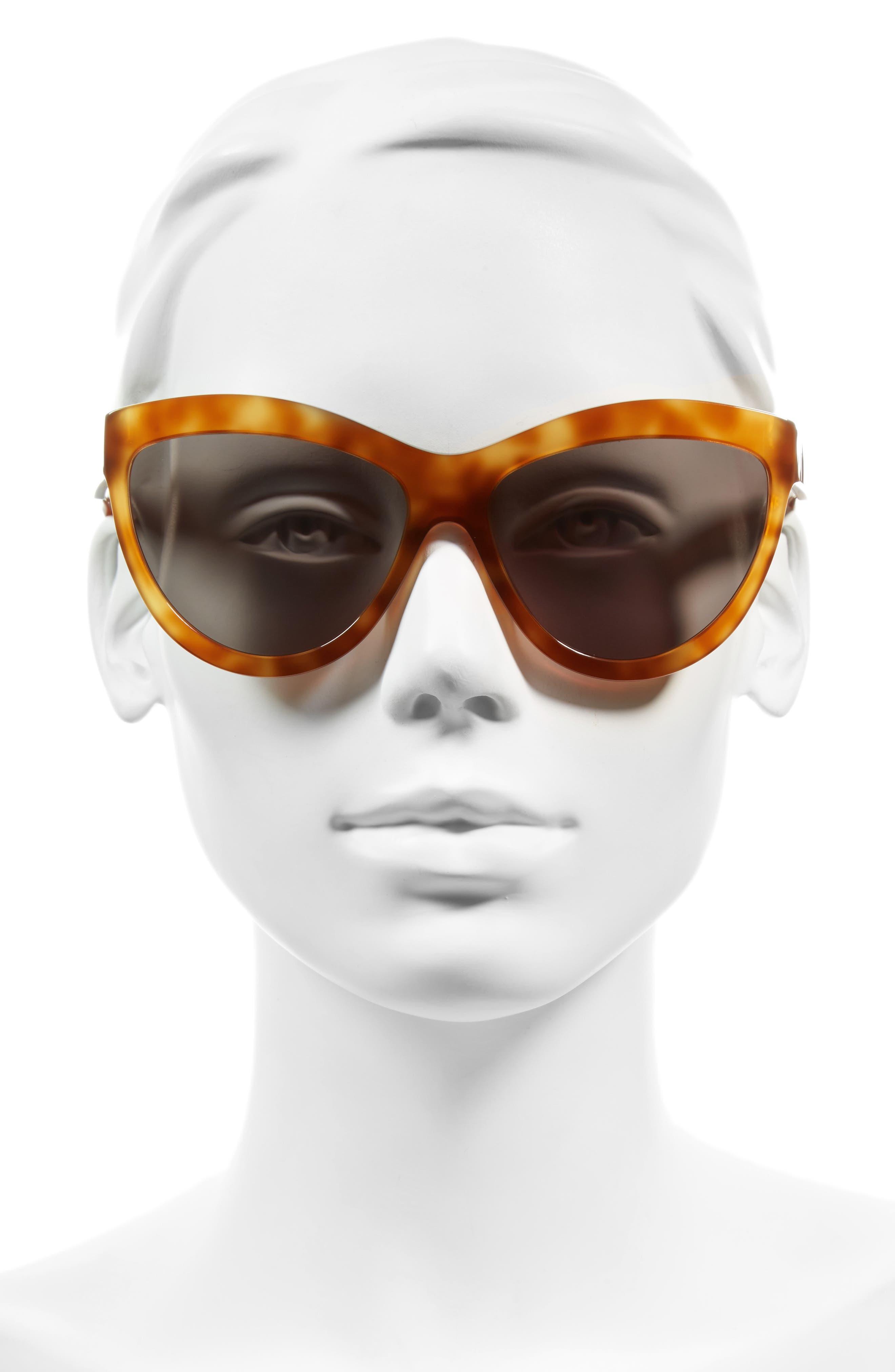 60mm Sunglasses,                             Alternate thumbnail 3, color,                             LIGHT HAVANA/ SILVER/ GREEN