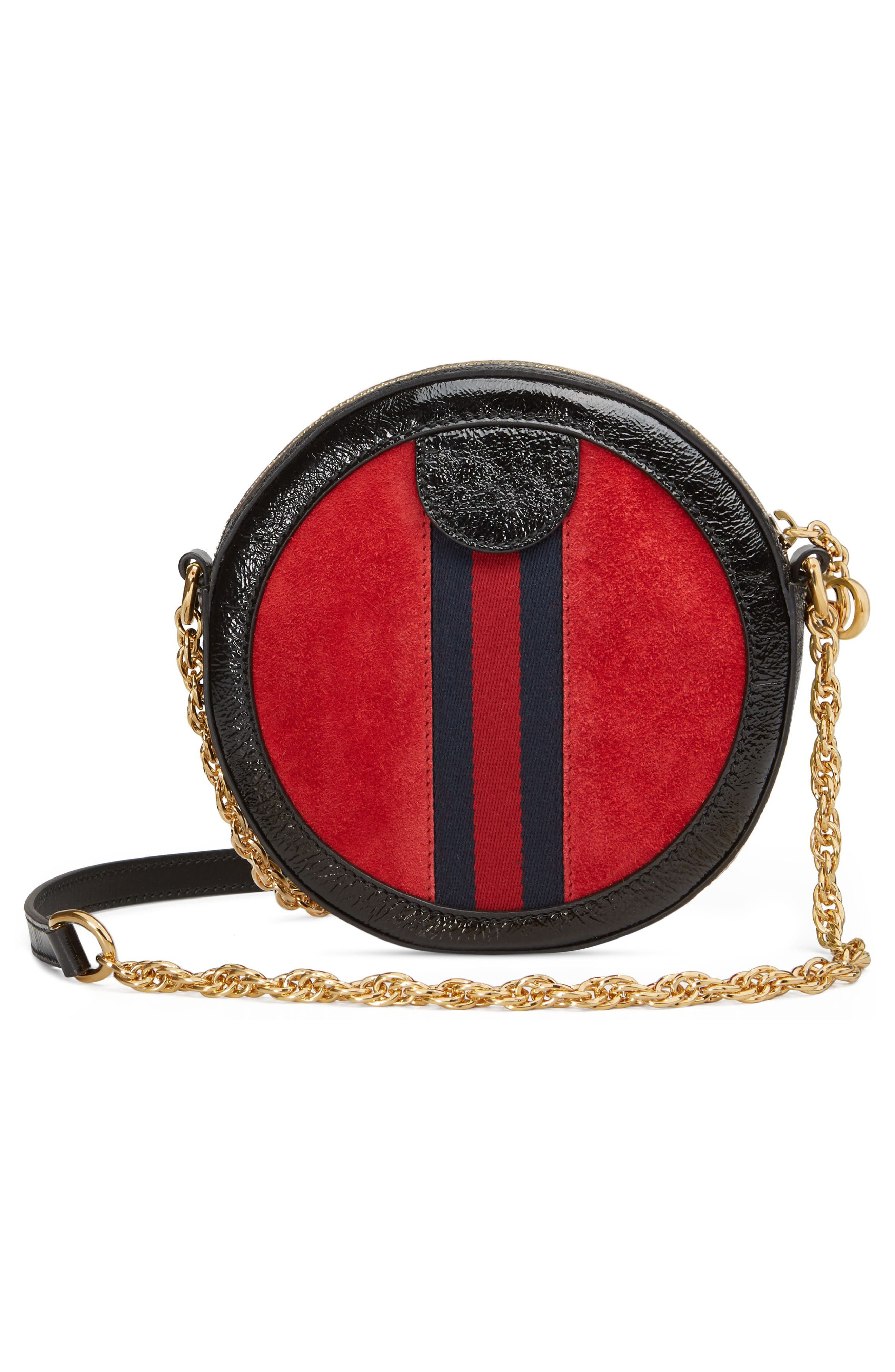 Mini Ophidia Round Shoulder Bag,                             Alternate thumbnail 2, color,                             HIBISCUS RED/ NERO/ BLUE