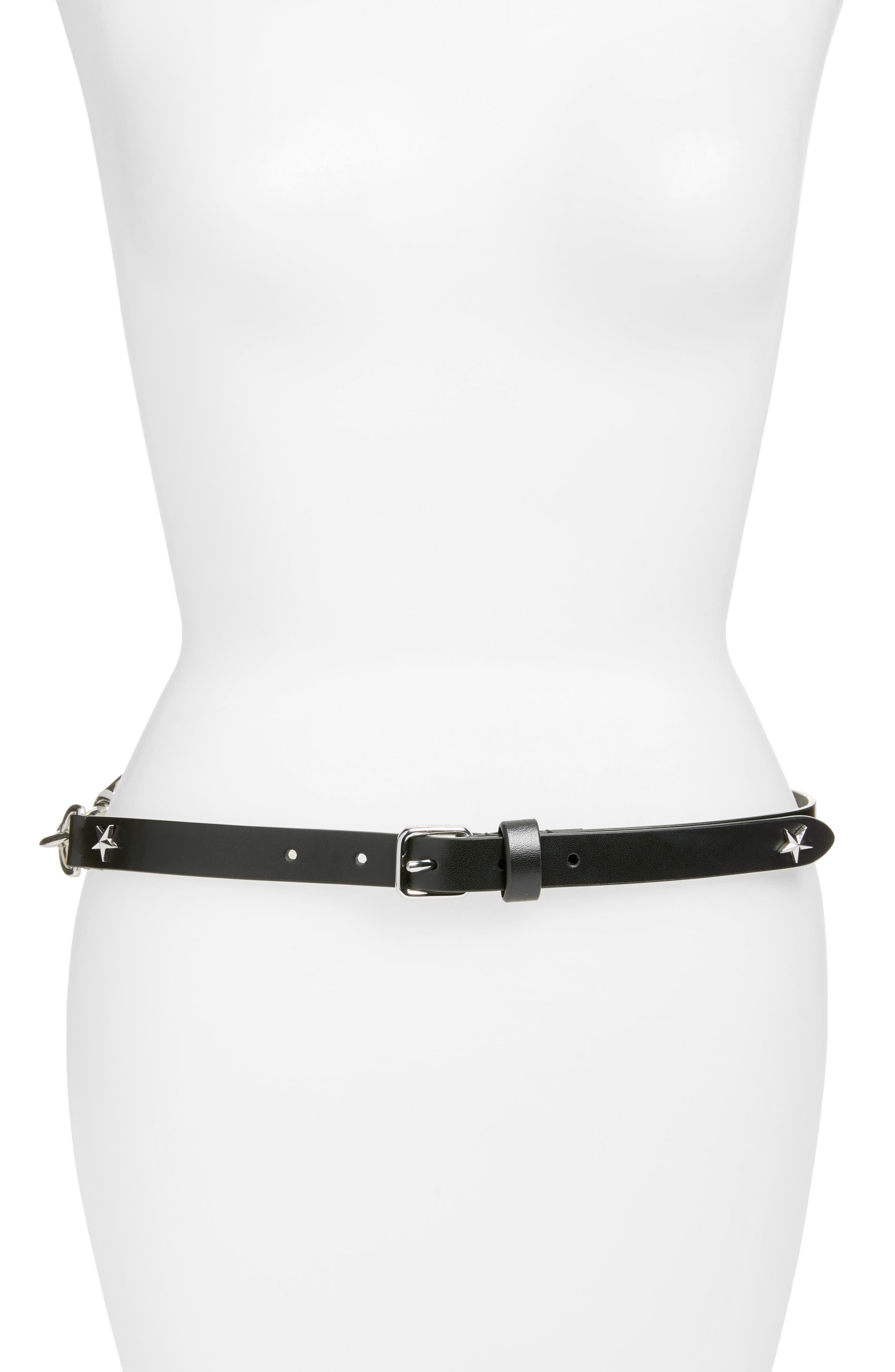 Dog Clip Star Studded Skinny Belt,                             Main thumbnail 1, color,                             001