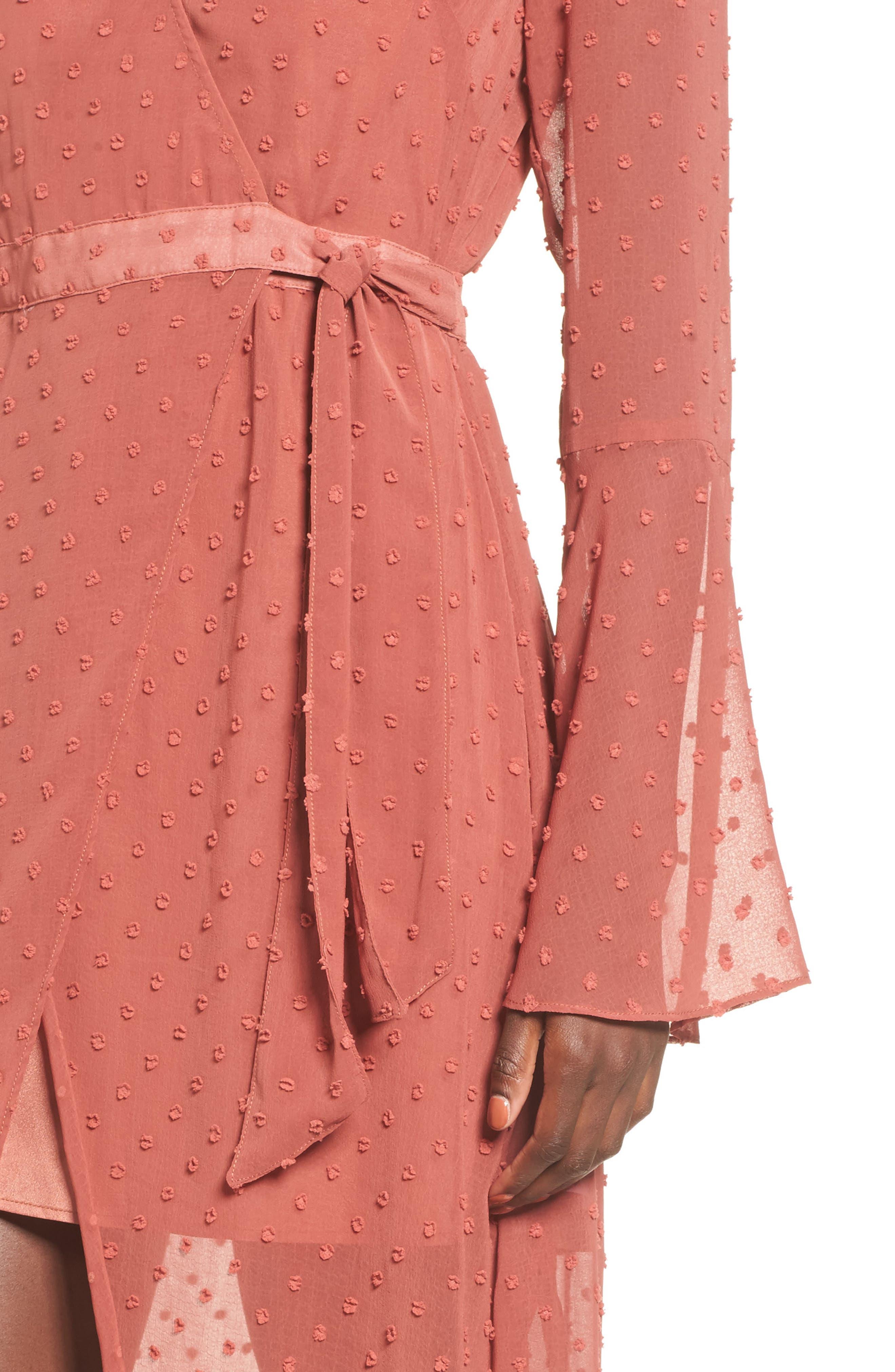 Freya Bell Sleeve Wrap Maxi Dress,                             Alternate thumbnail 4, color,                             200