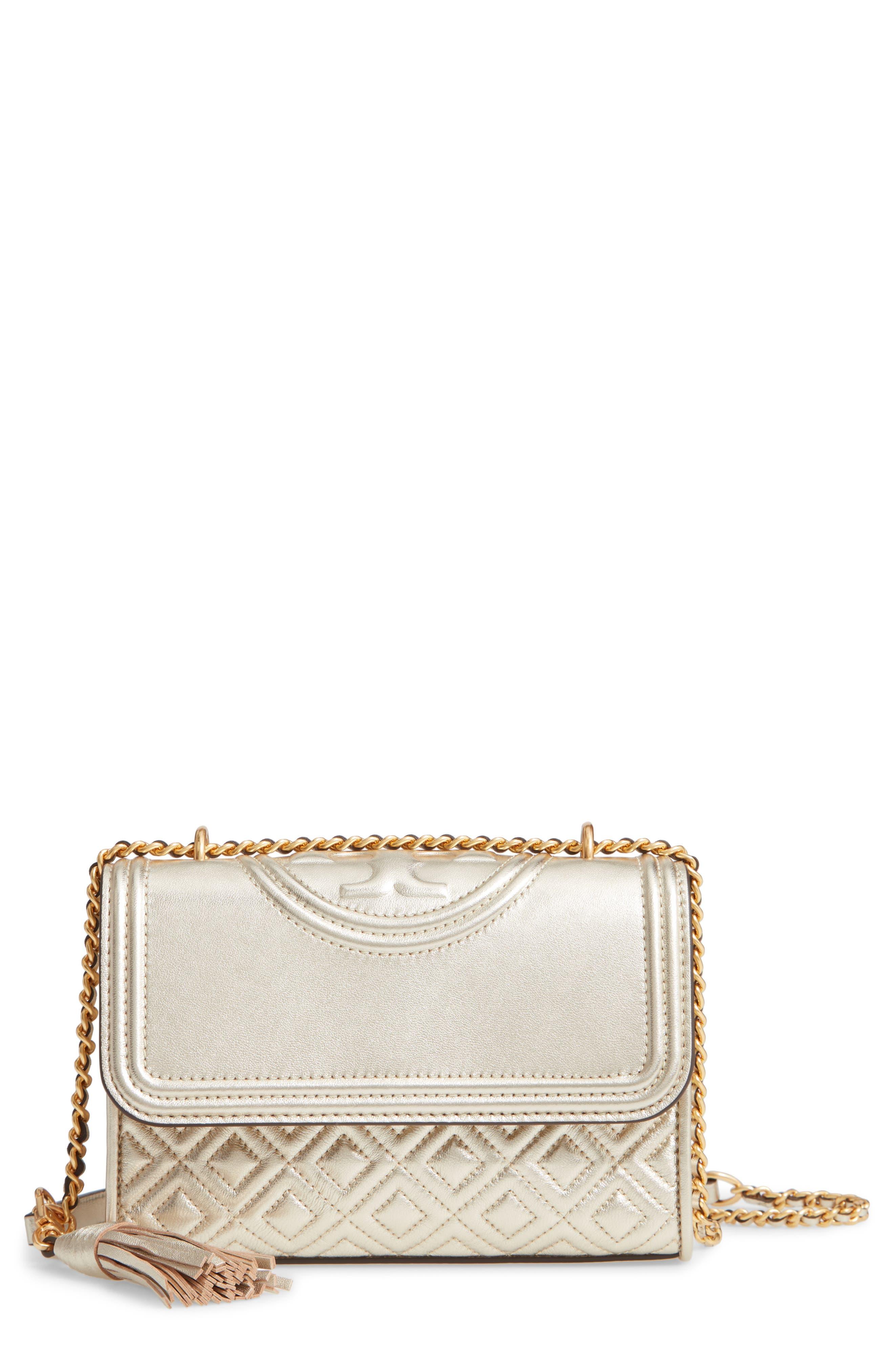 TORY BURCH Small Fleming Metallic Lambskin Leather Convertible Shoulder Bag, Main, color, 100
