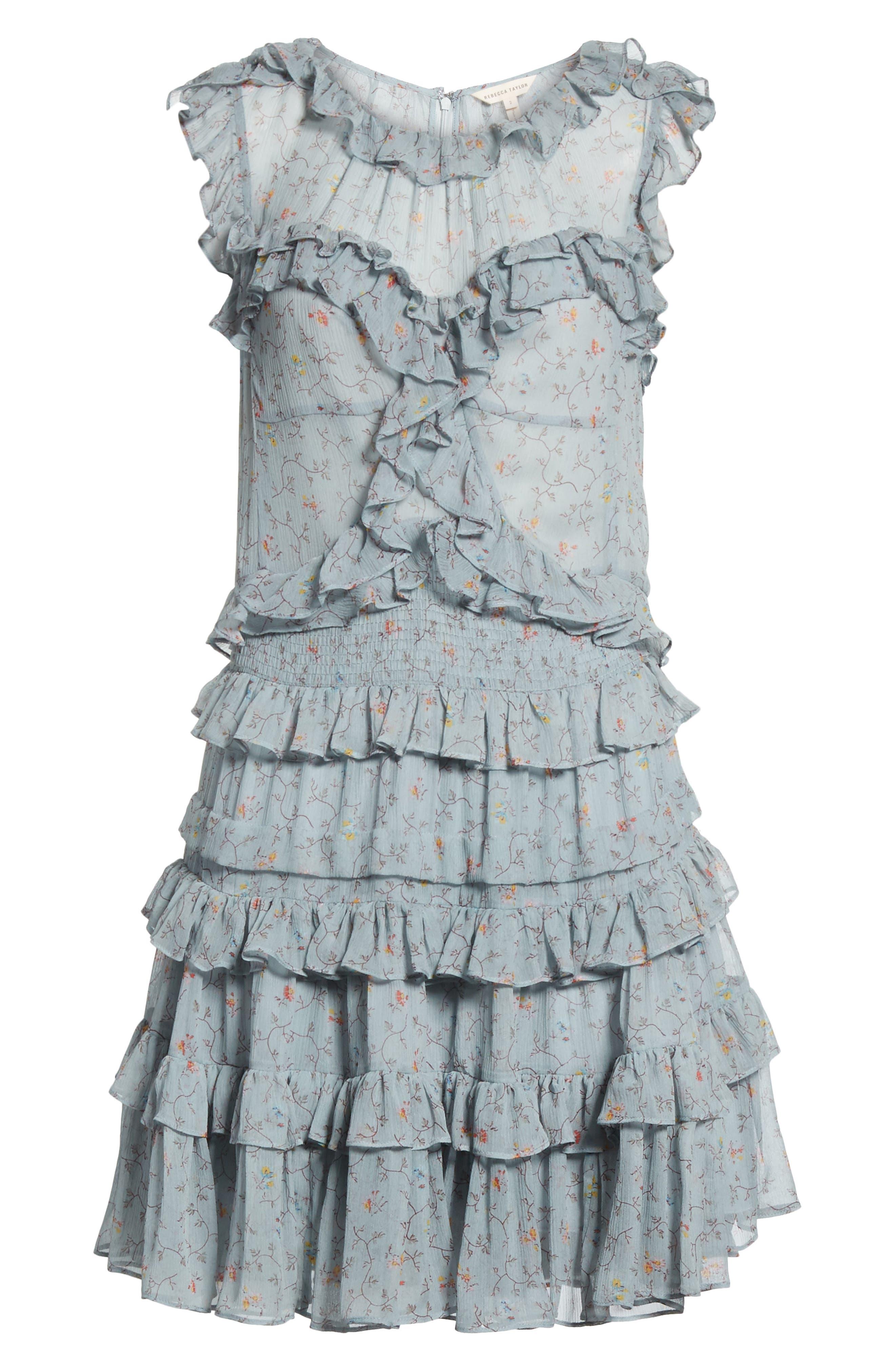 Floral Vine Ruffle Silk Dress,                             Alternate thumbnail 6, color,                             400