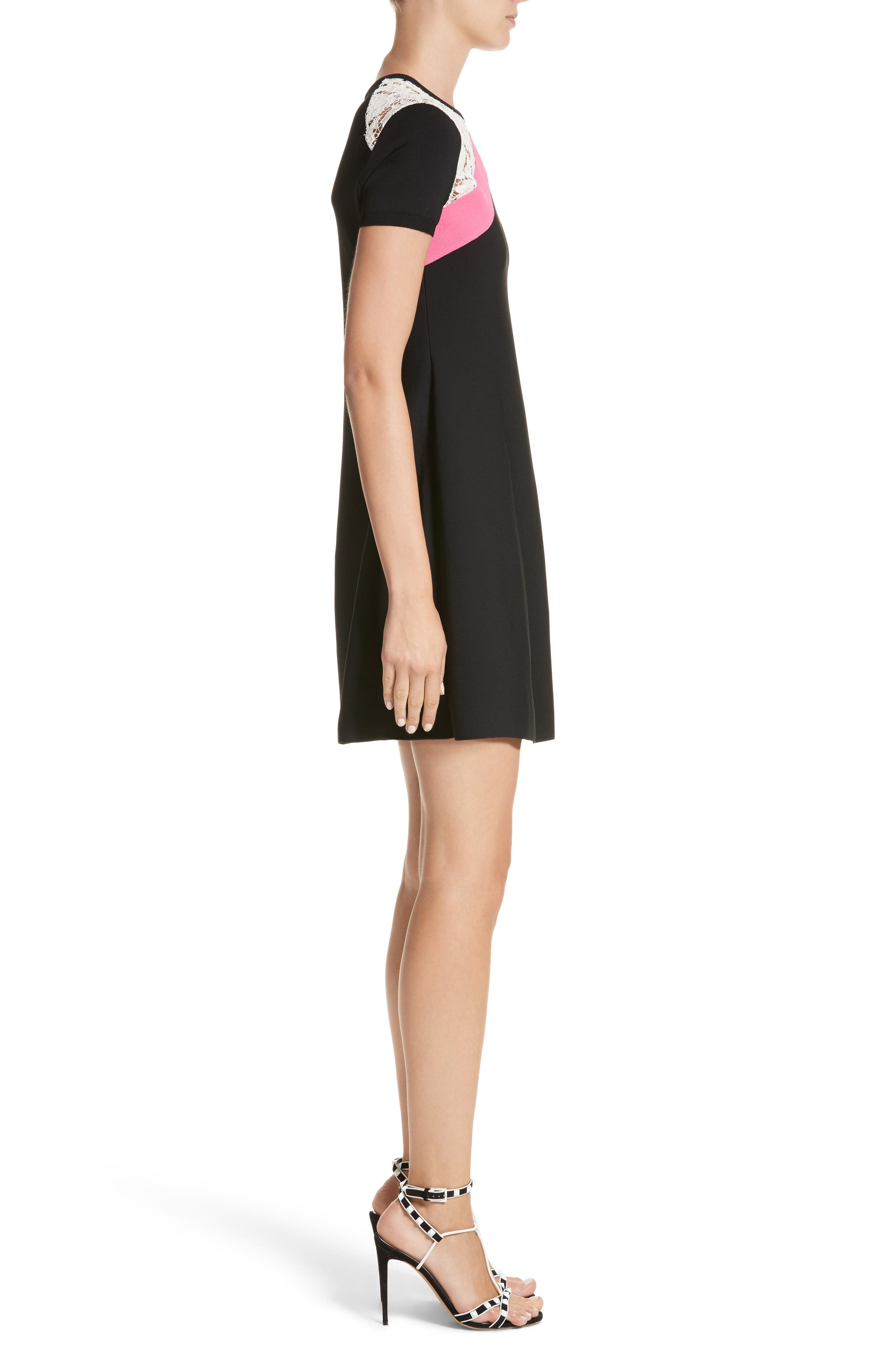 Chevron Lace Knit Dress,                             Alternate thumbnail 3, color,                             001