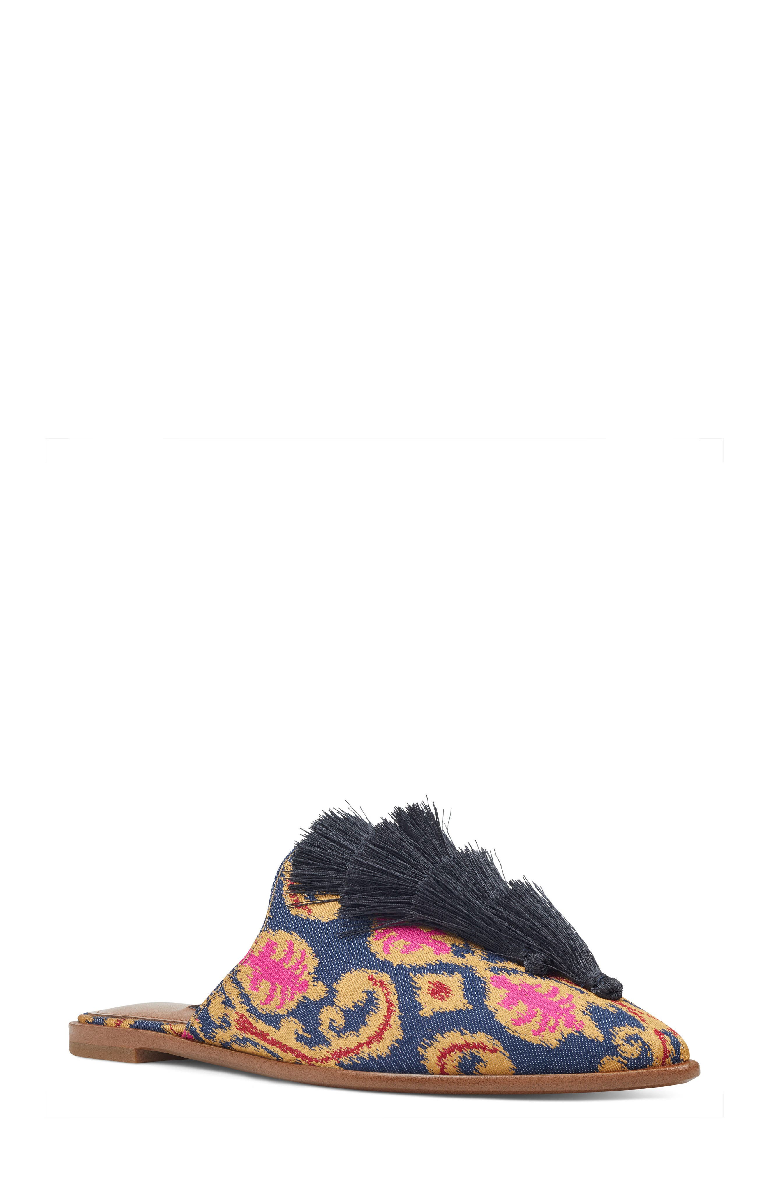 Ollial Fringed Loafer Mule,                             Main thumbnail 1, color,                             BLUE MULTI FABRIC