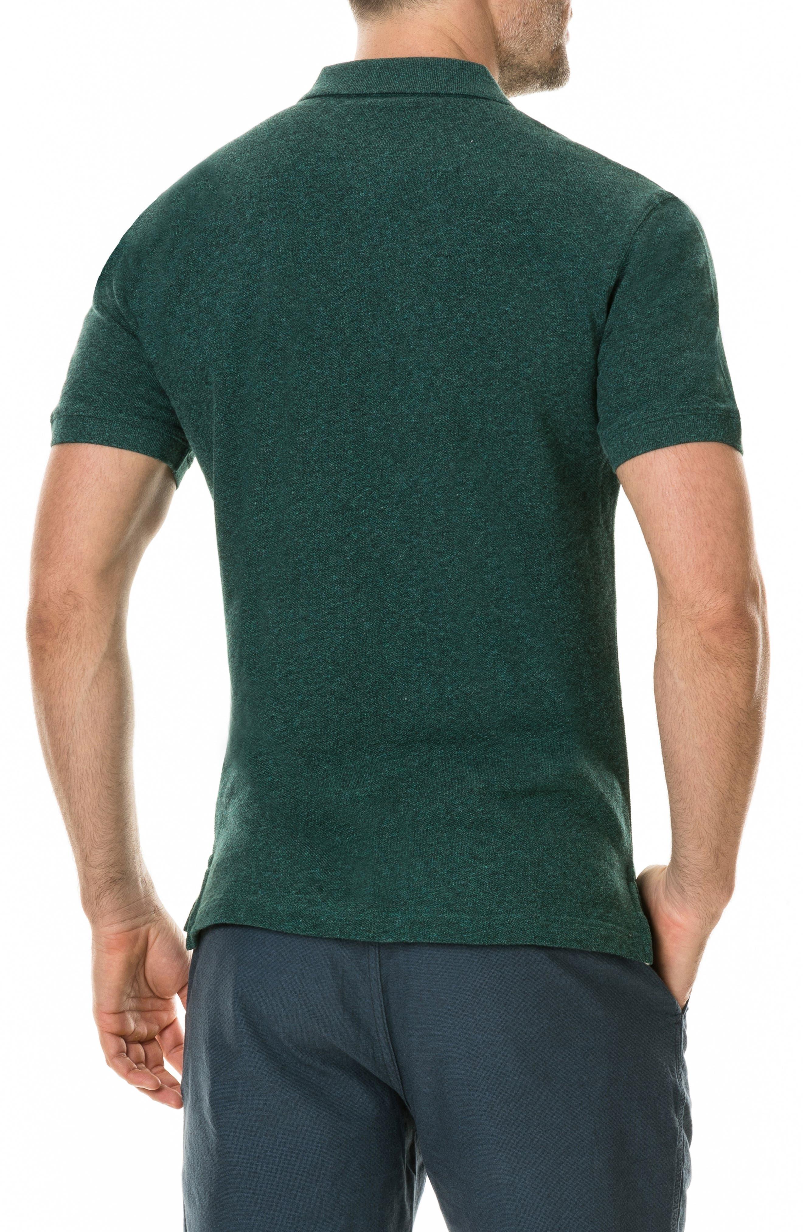 'The Gunn' Piqué Sports Fit Cotton Polo,                             Alternate thumbnail 2, color,                             PINE