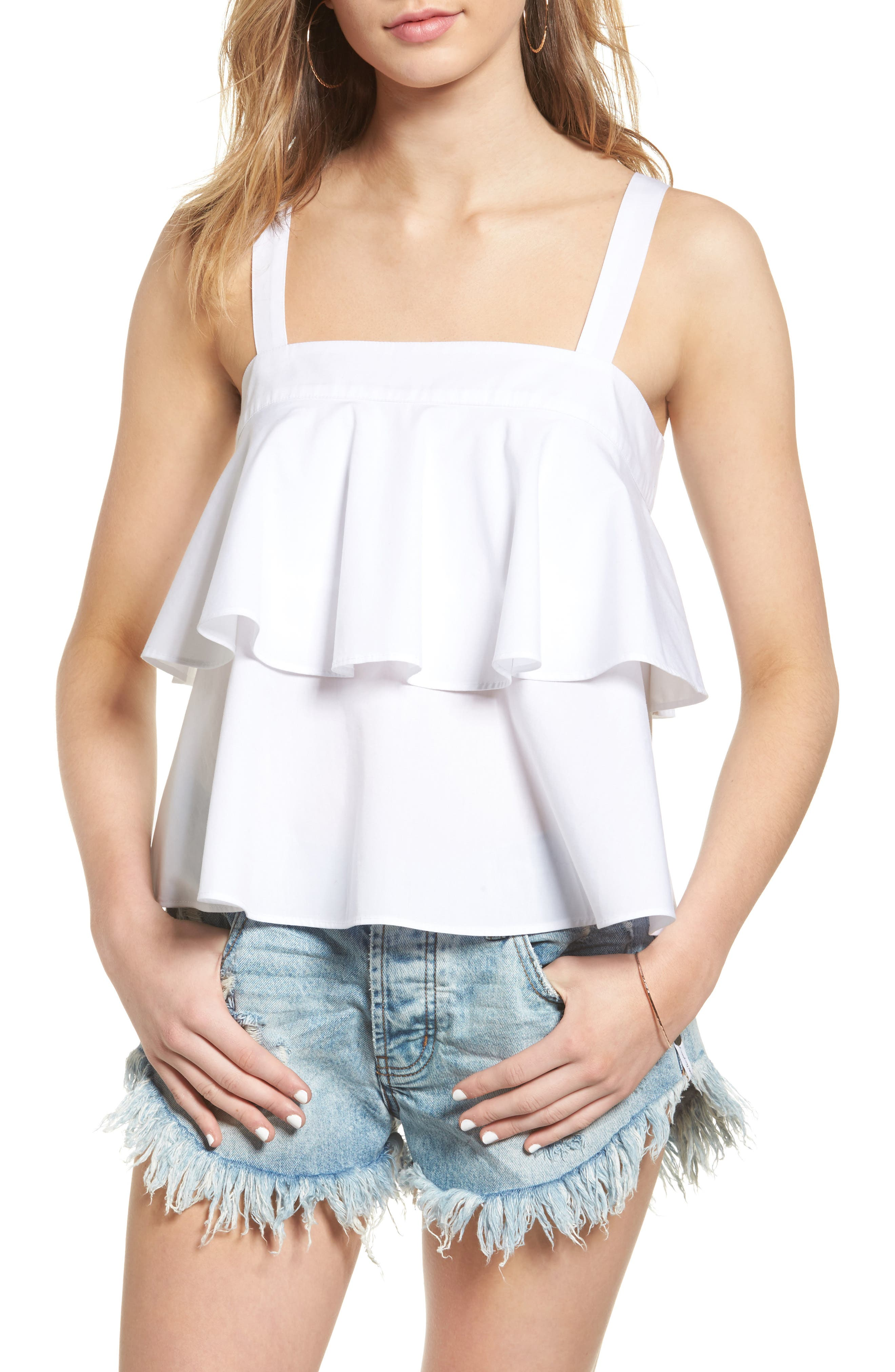 Tiered Cotton Tank,                         Main,                         color, 100