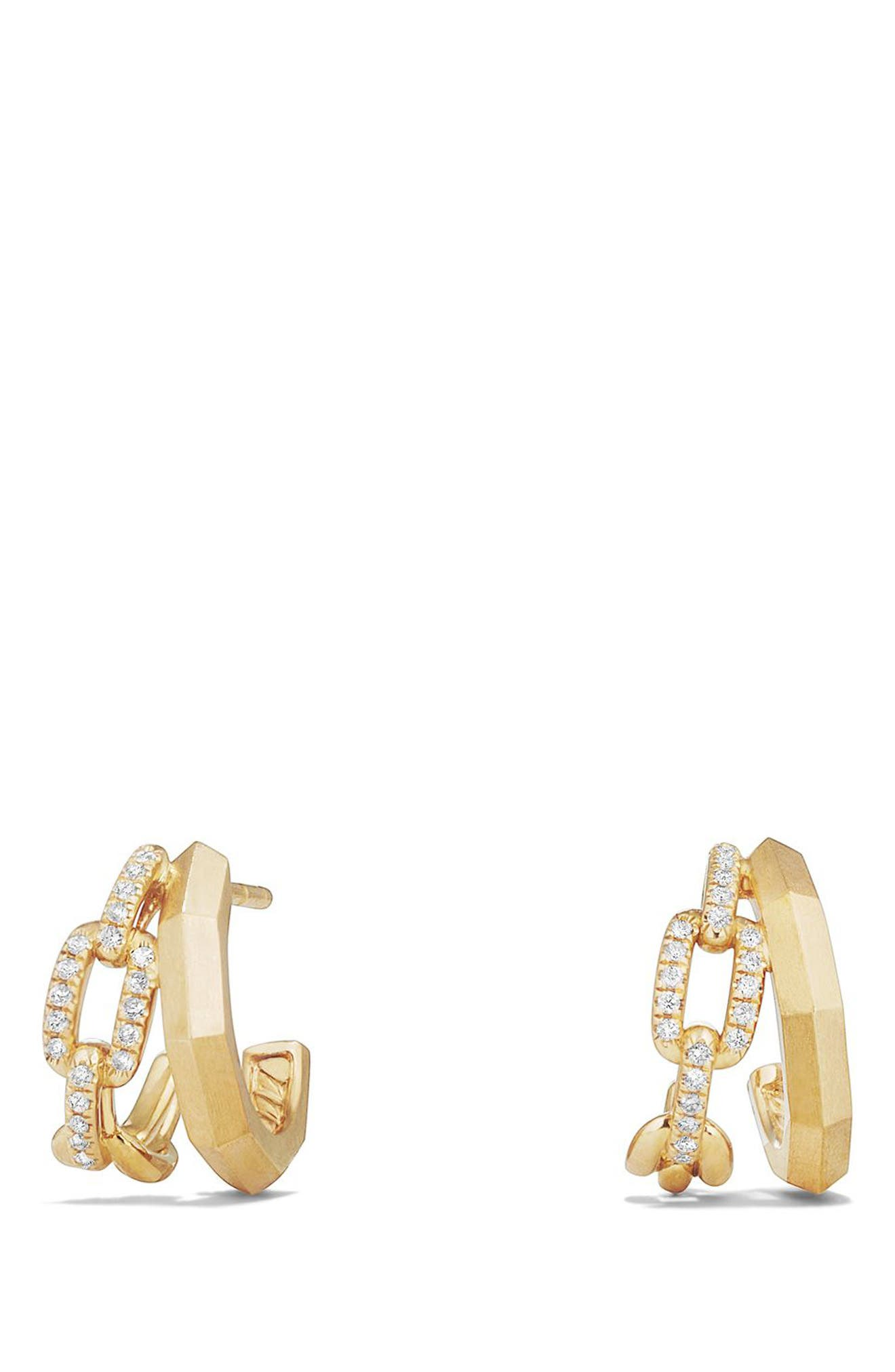 Stax Double Hoop Earrings with Diamonds,                             Main thumbnail 1, color,                             YELLOW GOLD