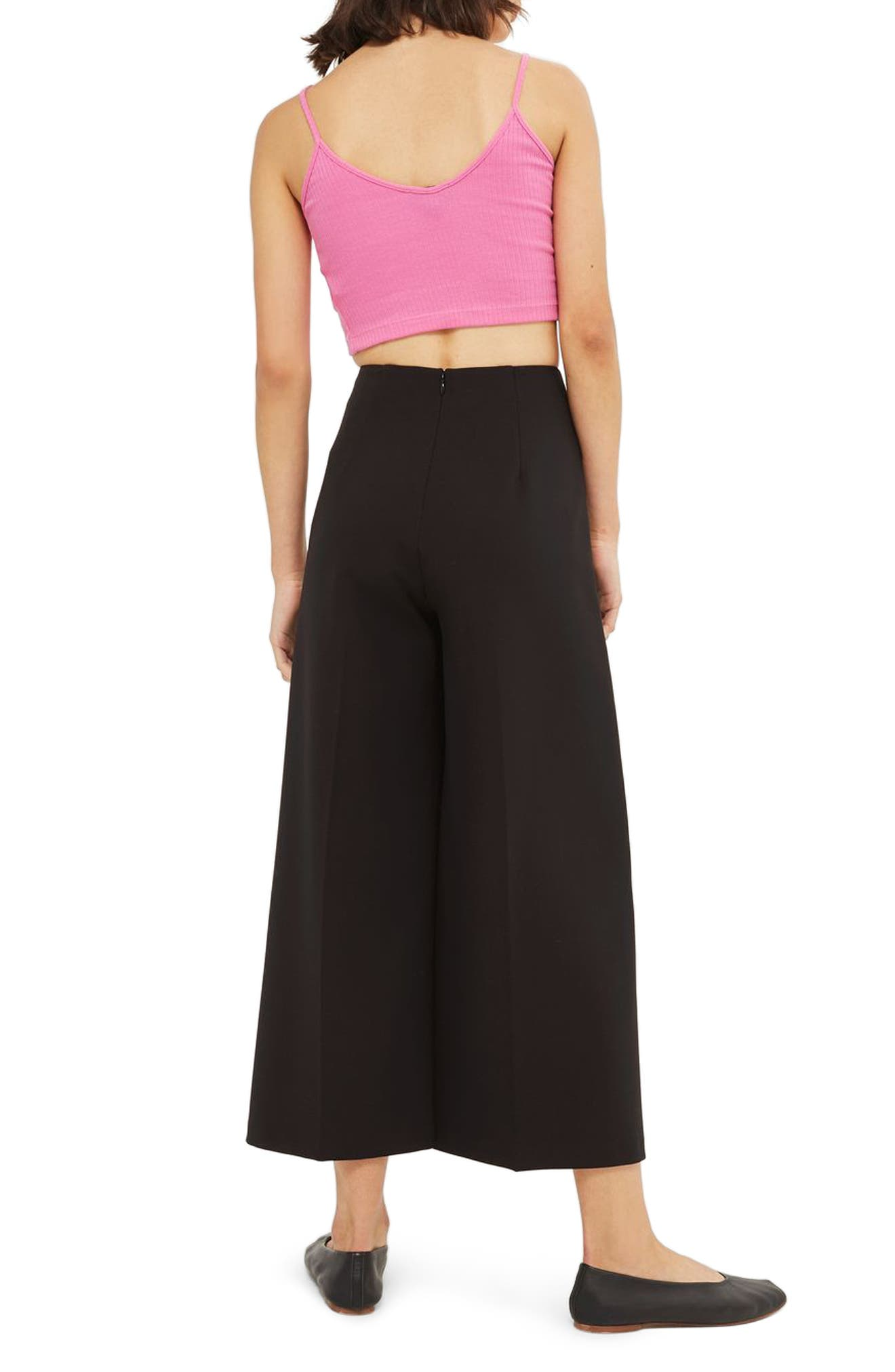 Lace-Up Wide Leg Crop Pants,                             Alternate thumbnail 2, color,                             001