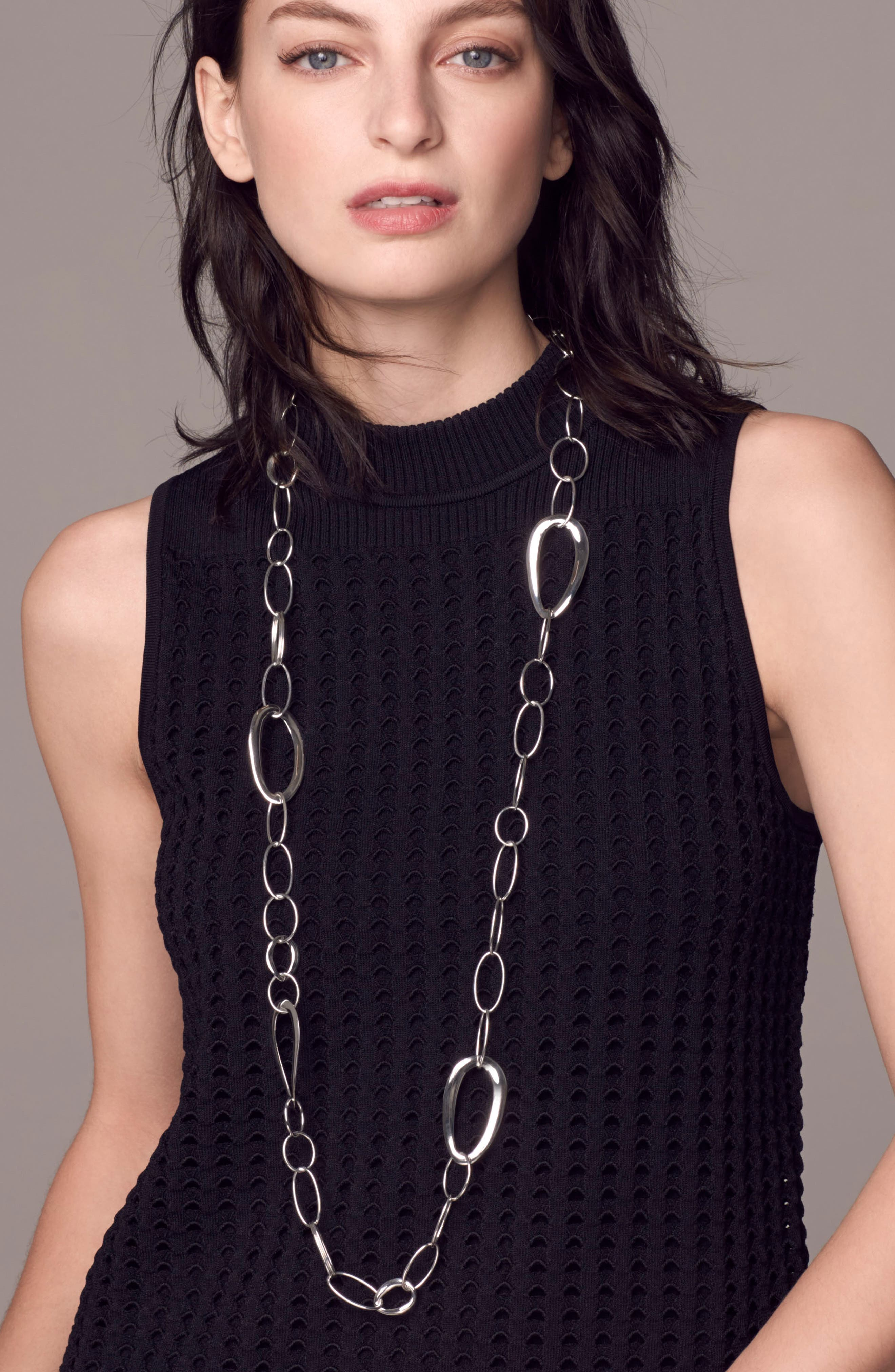 'Cherish' Wavy Oval Chain Necklace,                             Alternate thumbnail 2, color,                             040