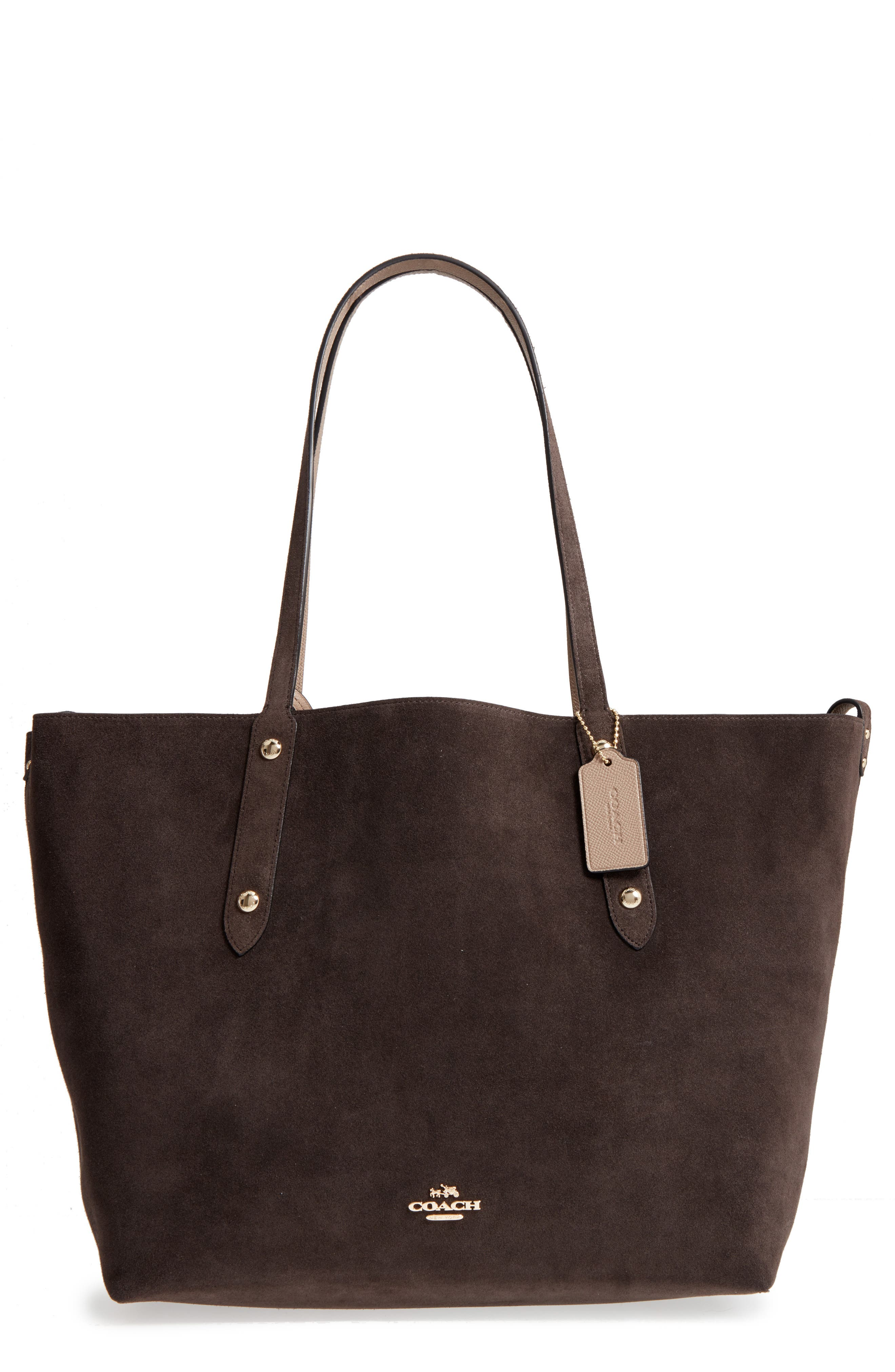 Large Market Reversible Leather Tote,                             Main thumbnail 4, color,