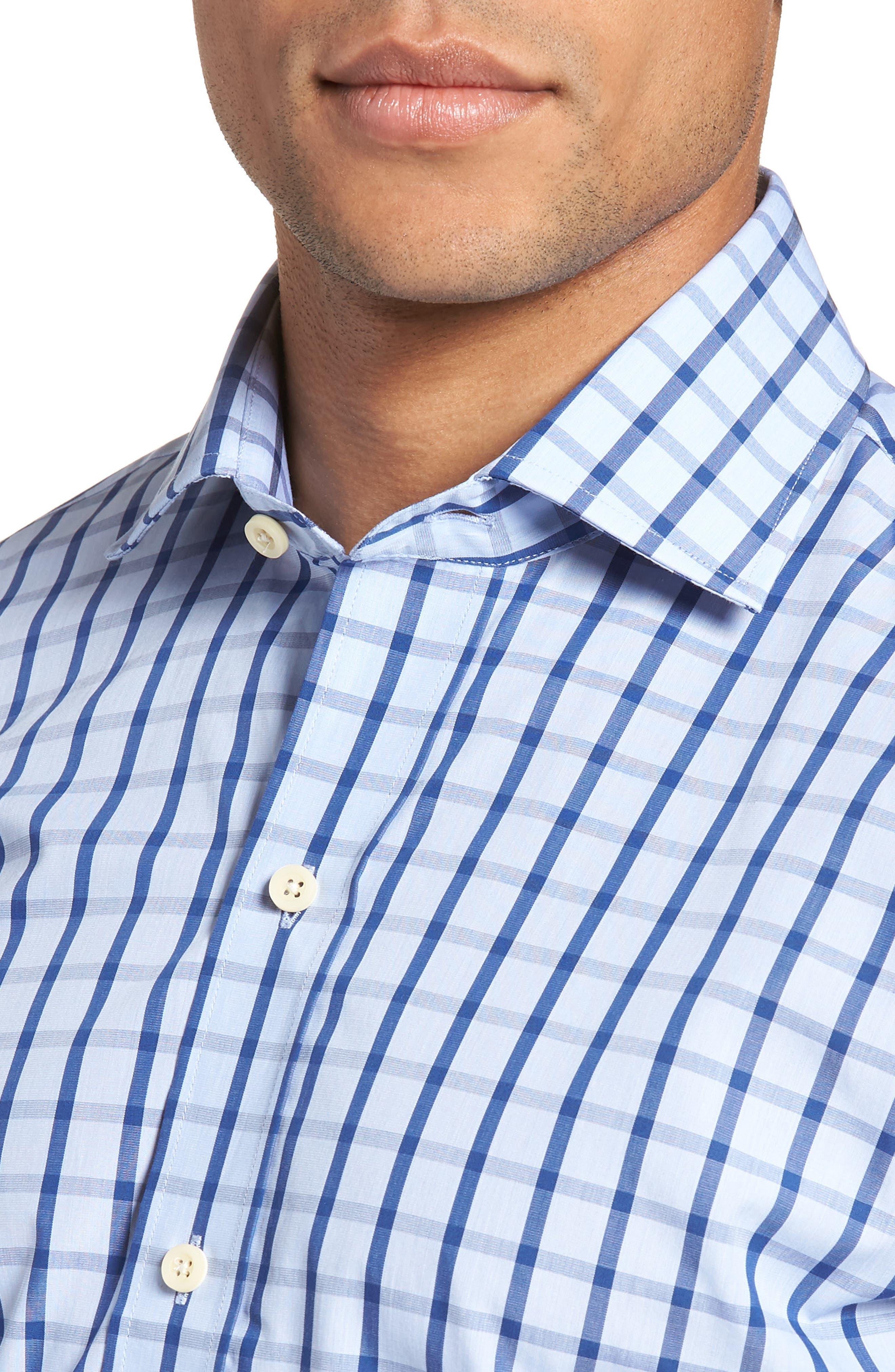 Hayden Trim Fit Windowpane Dress Shirt,                             Alternate thumbnail 4, color,