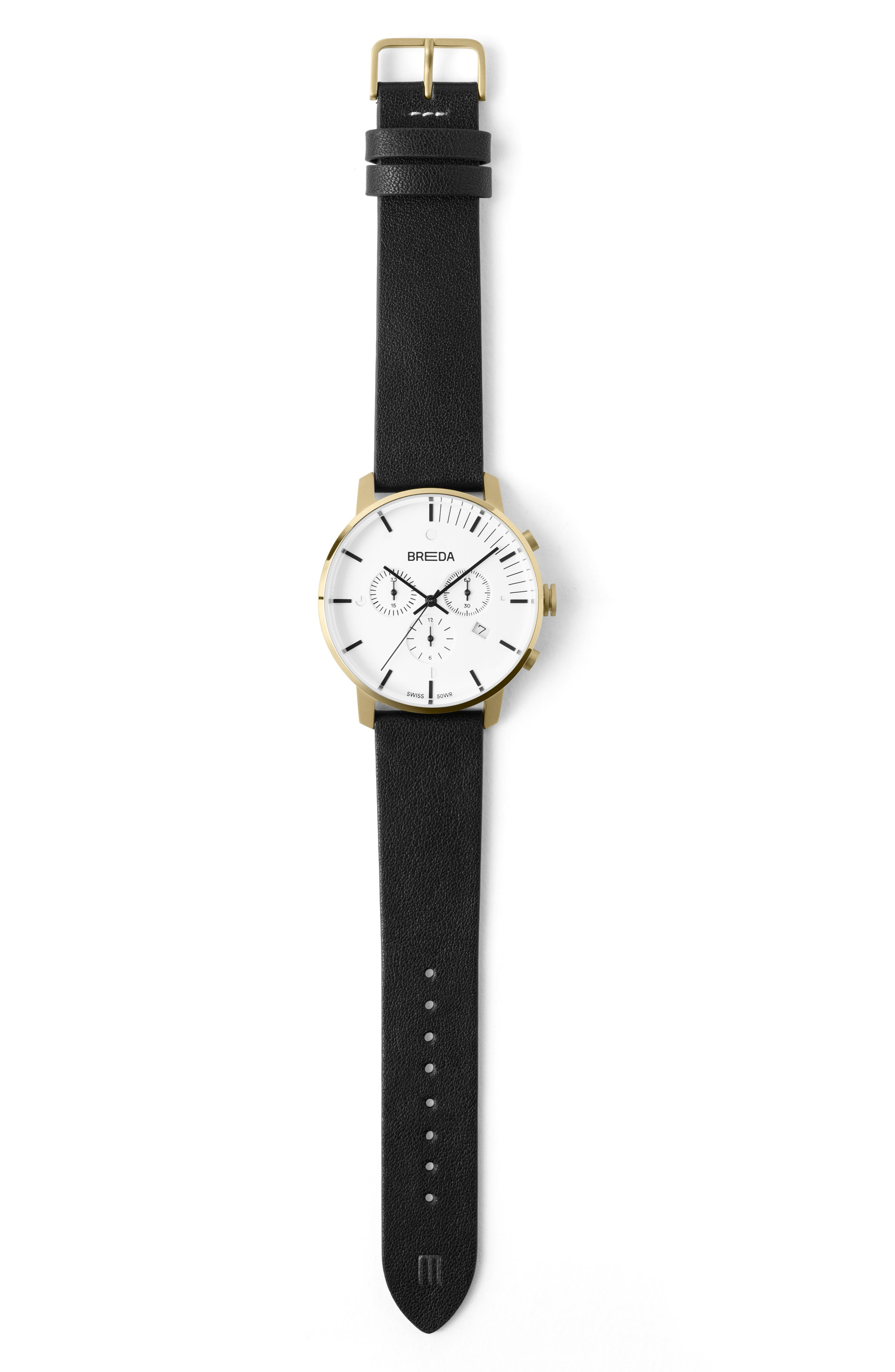 BREDA,                             Phase Chronograph Italian Leather Strap Watch, 41mm,                             Alternate thumbnail 3, color,                             BLACK/ WHITE/ GOLD