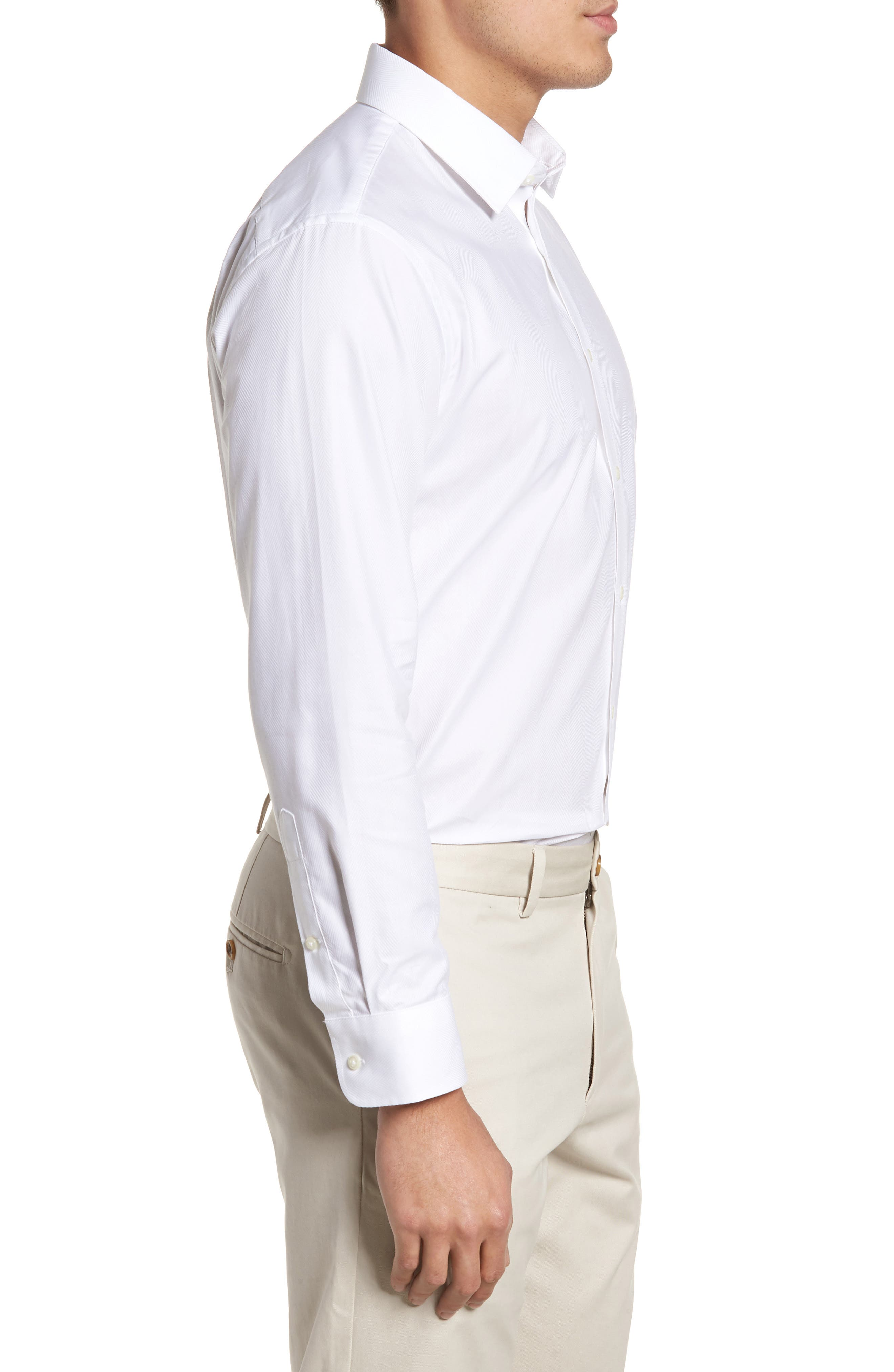 Trim Fit Herringbone Dress Shirt,                             Alternate thumbnail 4, color,                             WHITE