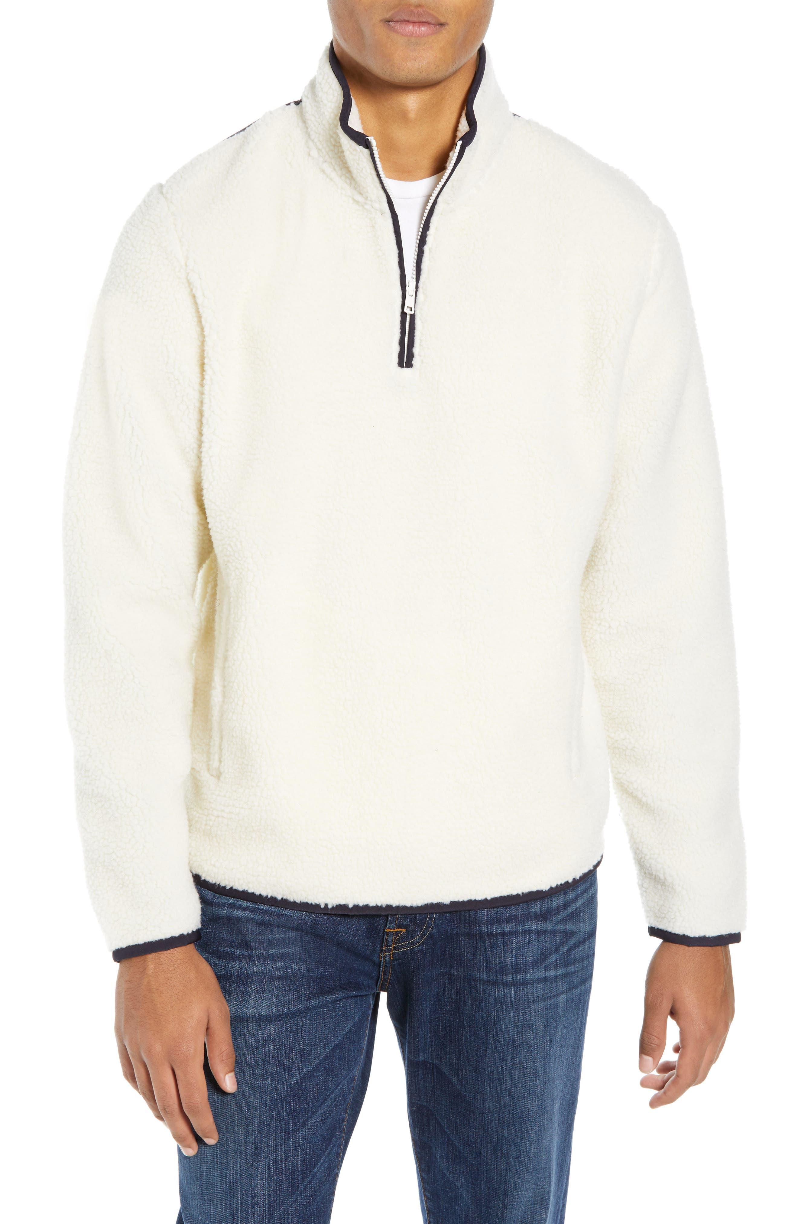 Nordstrom Shop Quarter Zip Fleece Pullover, Ivory