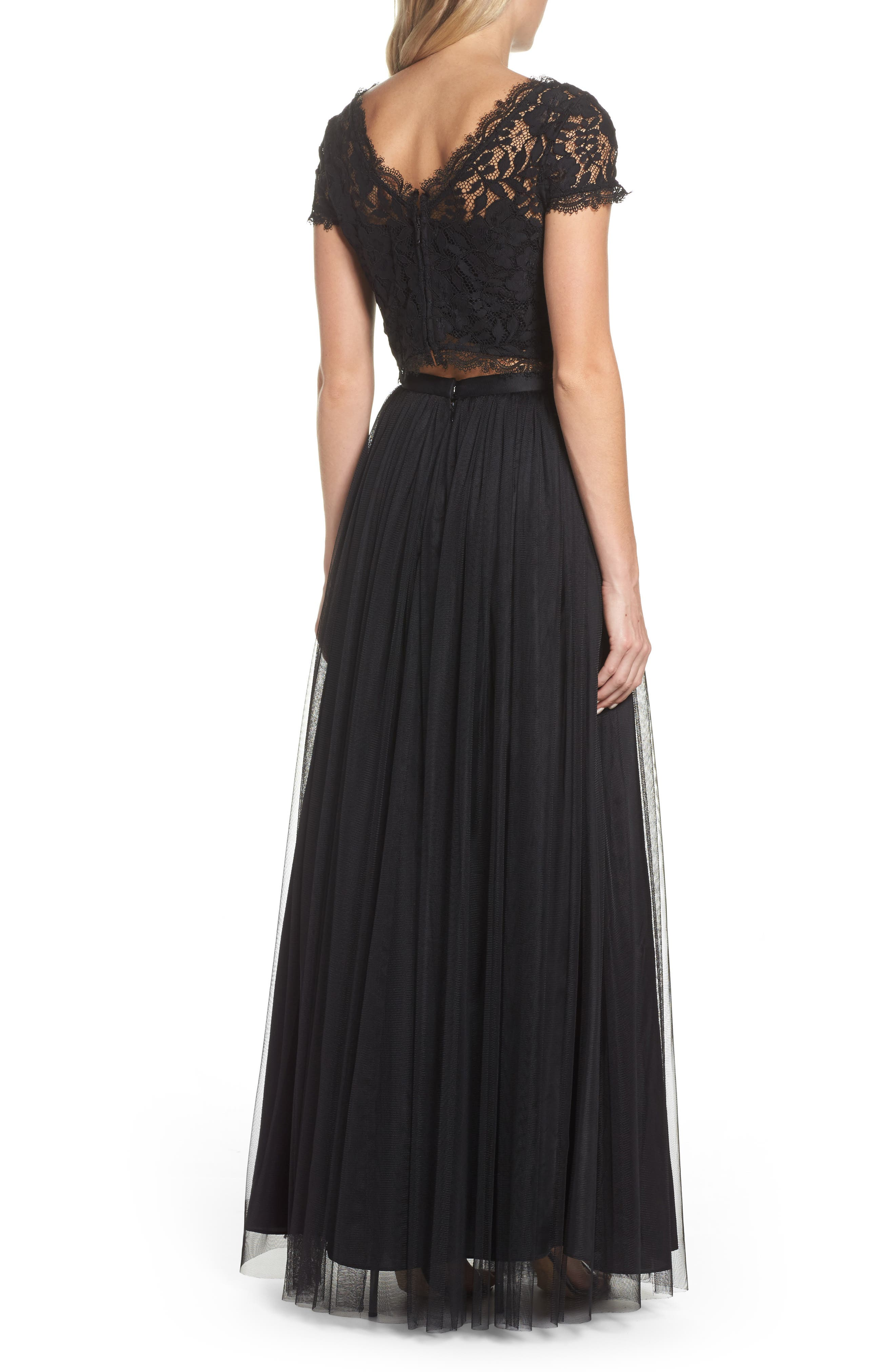Lace and Tulle Two-Piece Dress,                             Alternate thumbnail 2, color,                             002