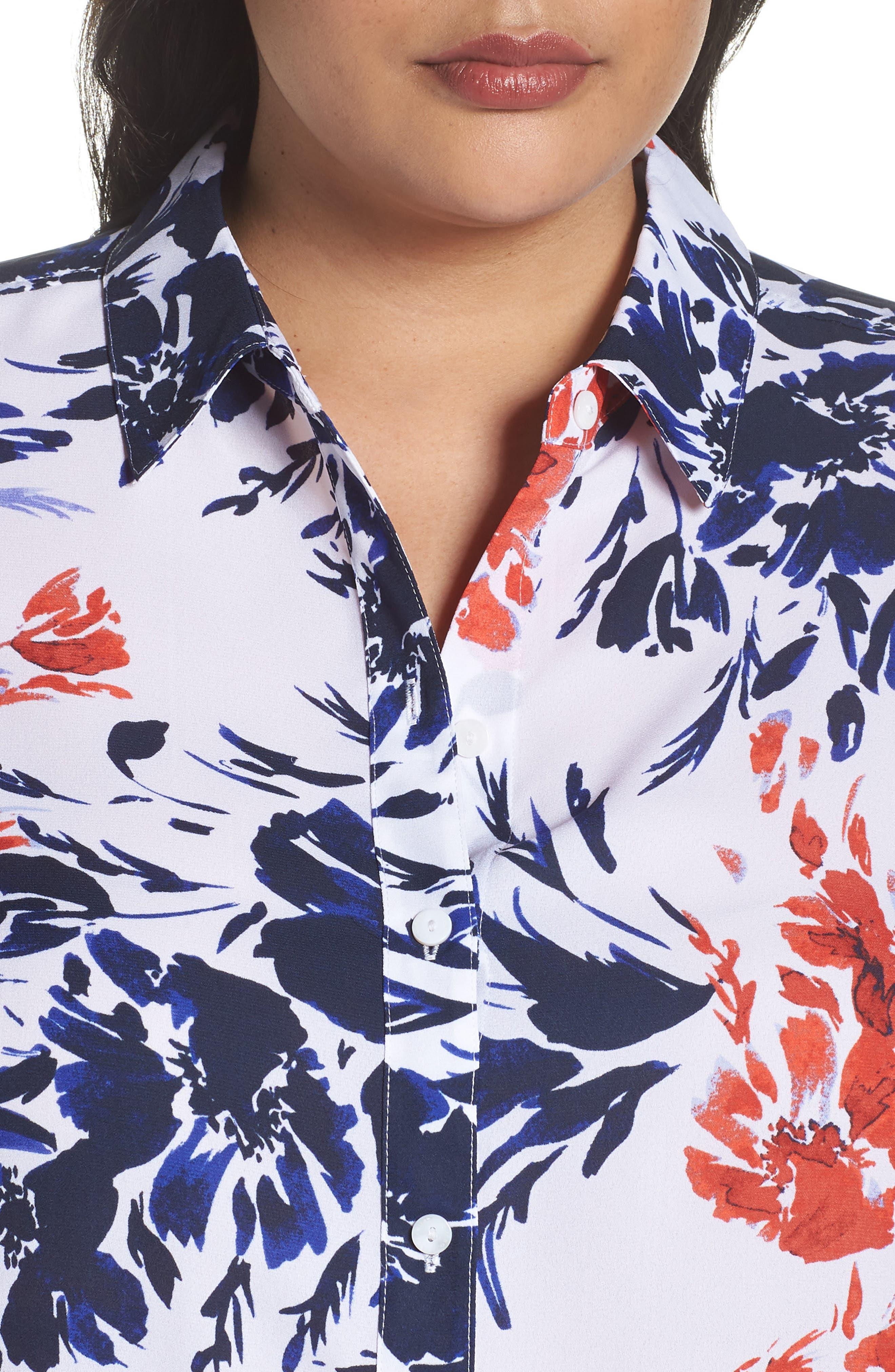 Gigi Breezy Floral Top,                             Alternate thumbnail 4, color,