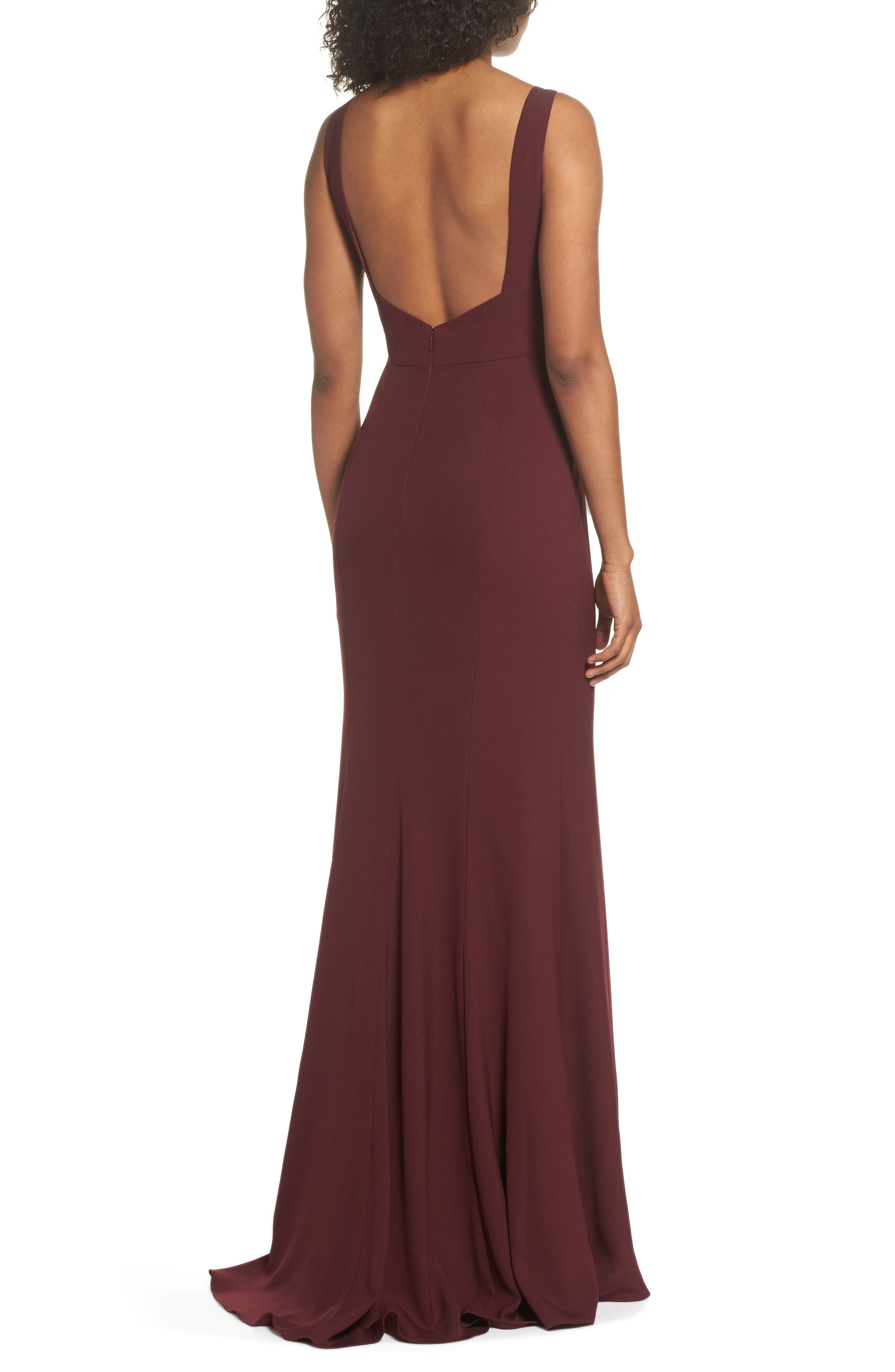 Joelle Low Back Crepe Gown,                             Alternate thumbnail 2, color,                             RUBY