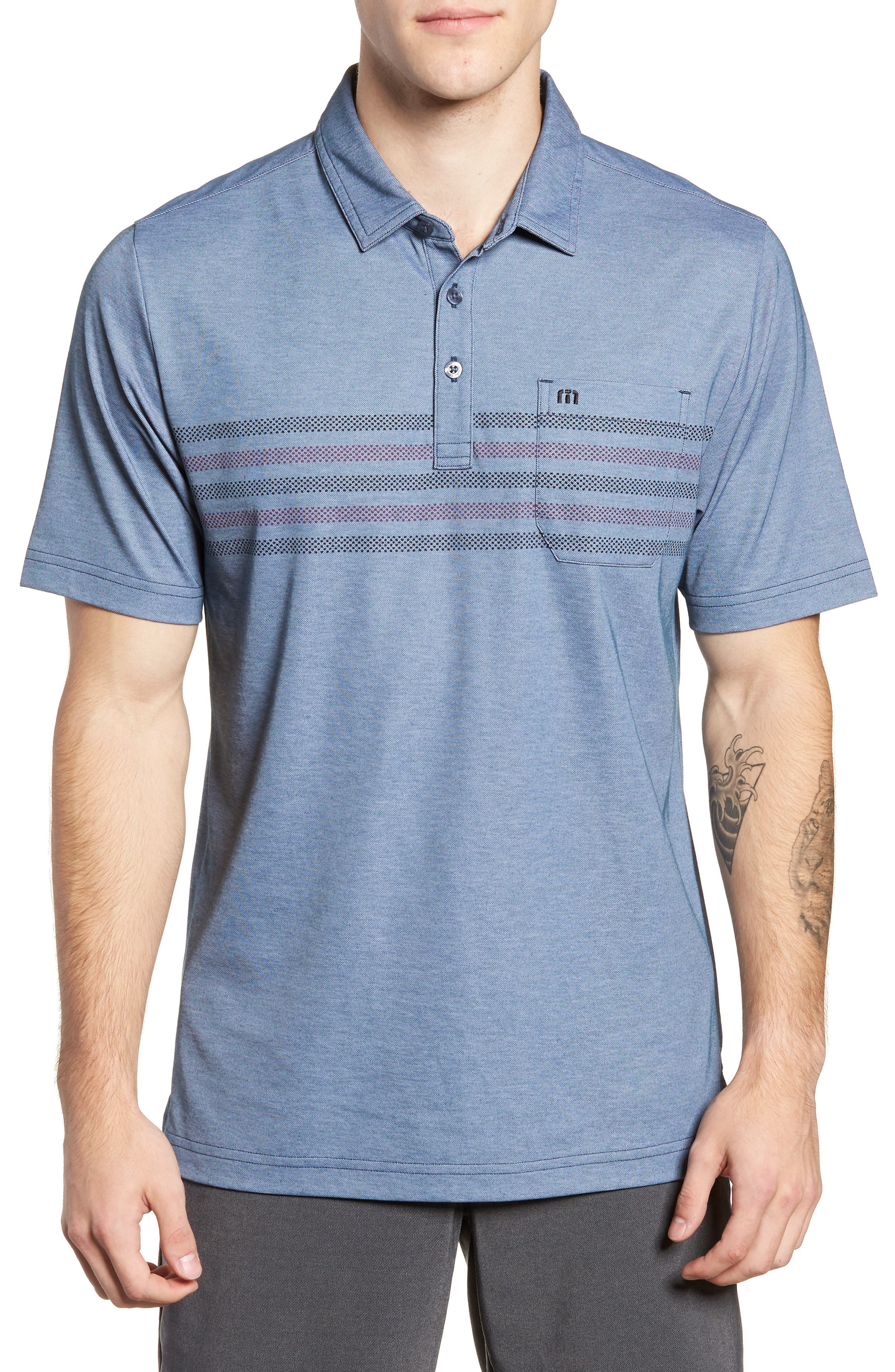 Racket Piqué Polo,                         Main,                         color, HEATHER BLUE WING TEAL