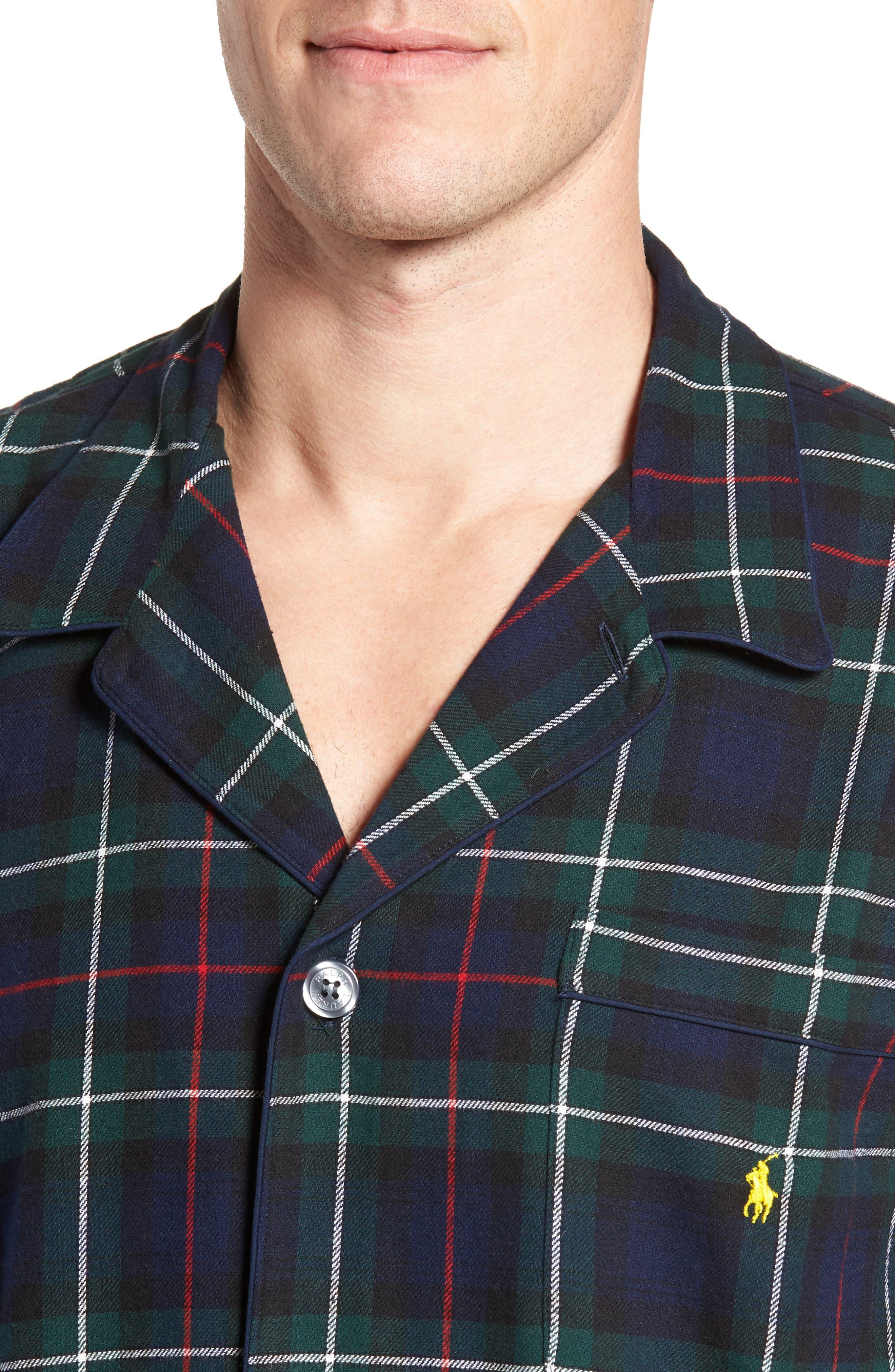 Polo Ralph Lauren Flannel Pajama Shirt,                             Alternate thumbnail 14, color,