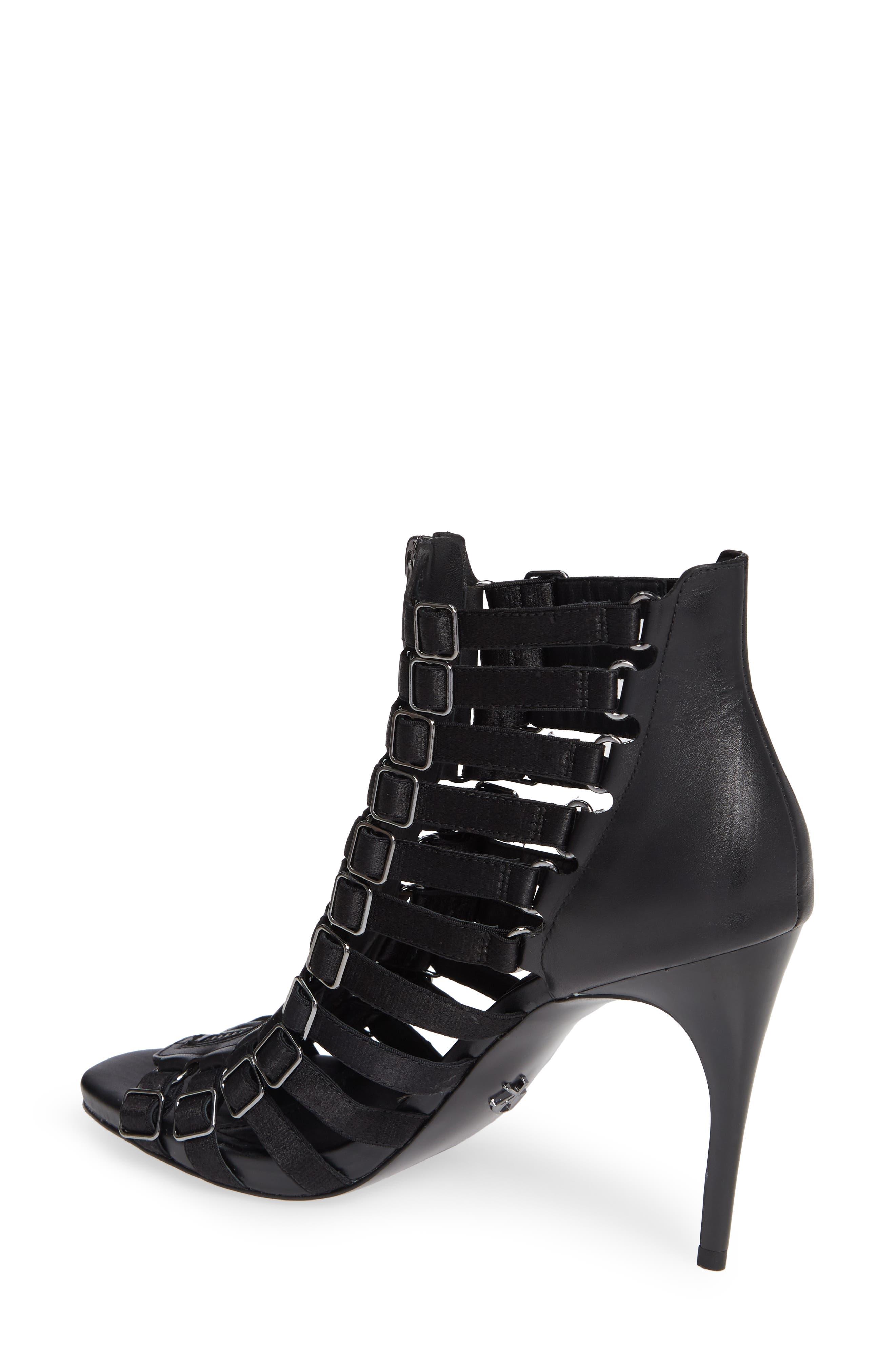 Donna Karan Kat High Sandal,                             Alternate thumbnail 2, color,                             BLACK CALF/ SATIN