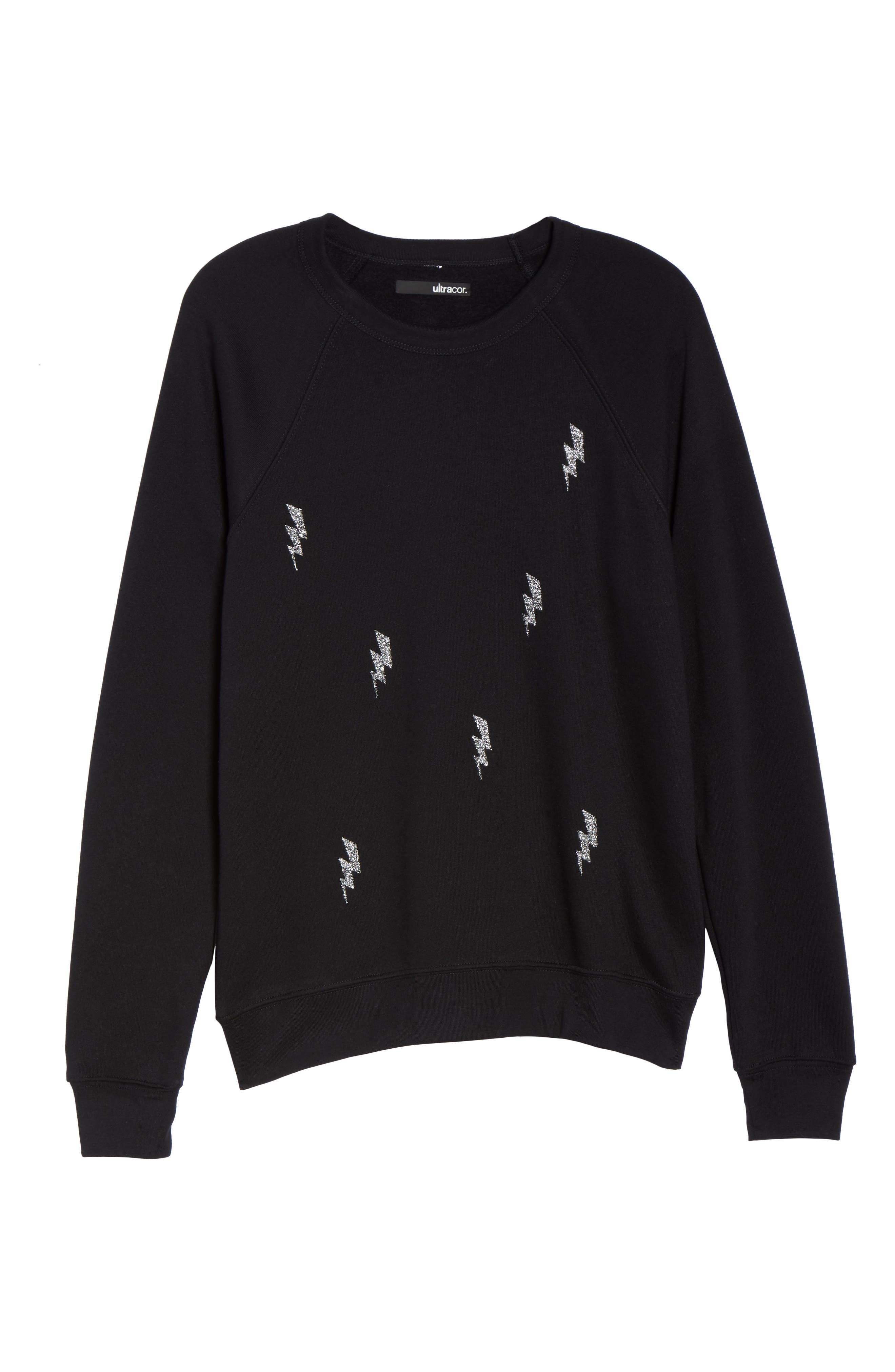 Swarovski Bolt Sweatshirt,                             Alternate thumbnail 7, color,                             001