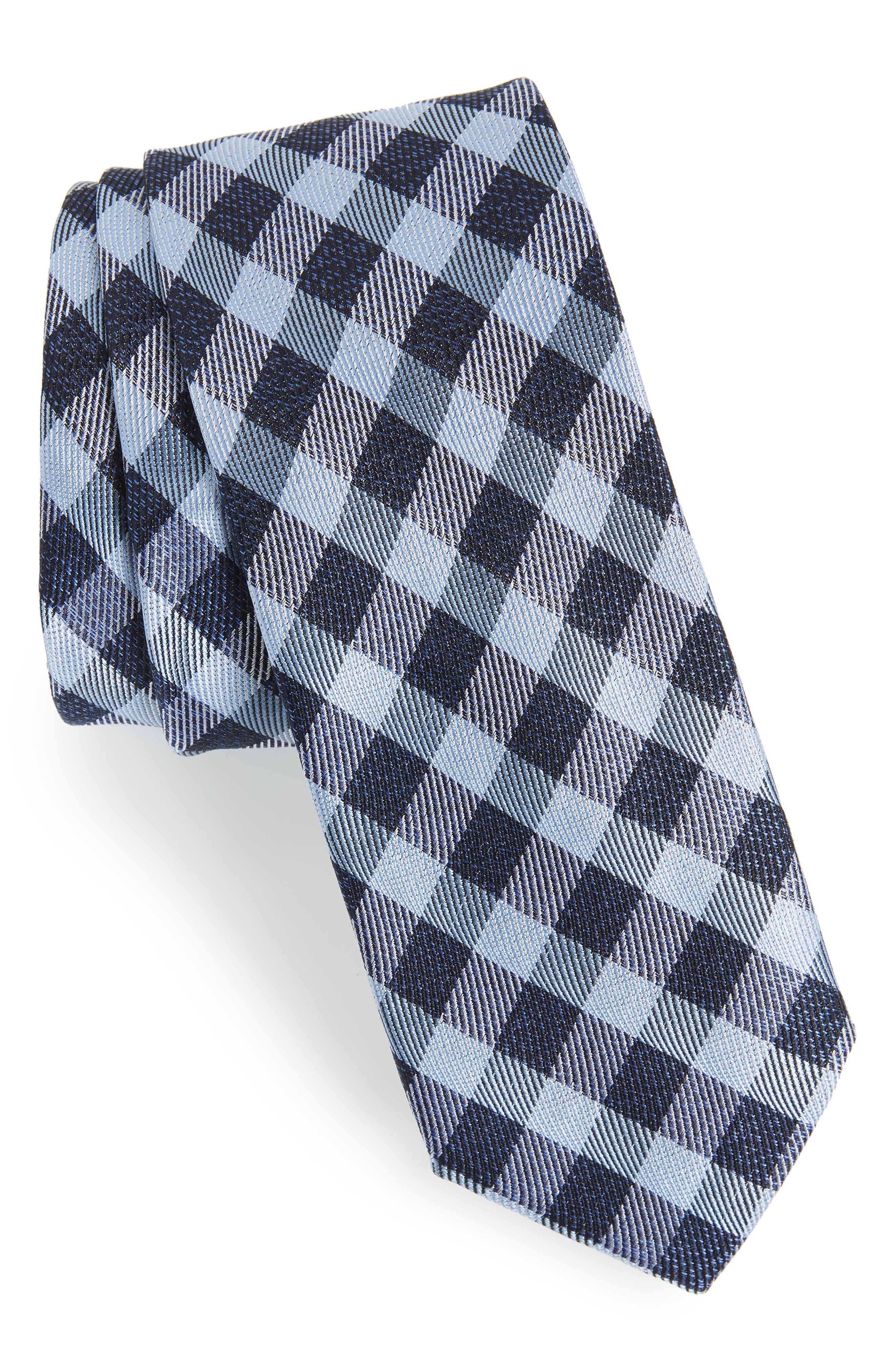Avers Plaid Silk Tie,                         Main,                         color, BLUE