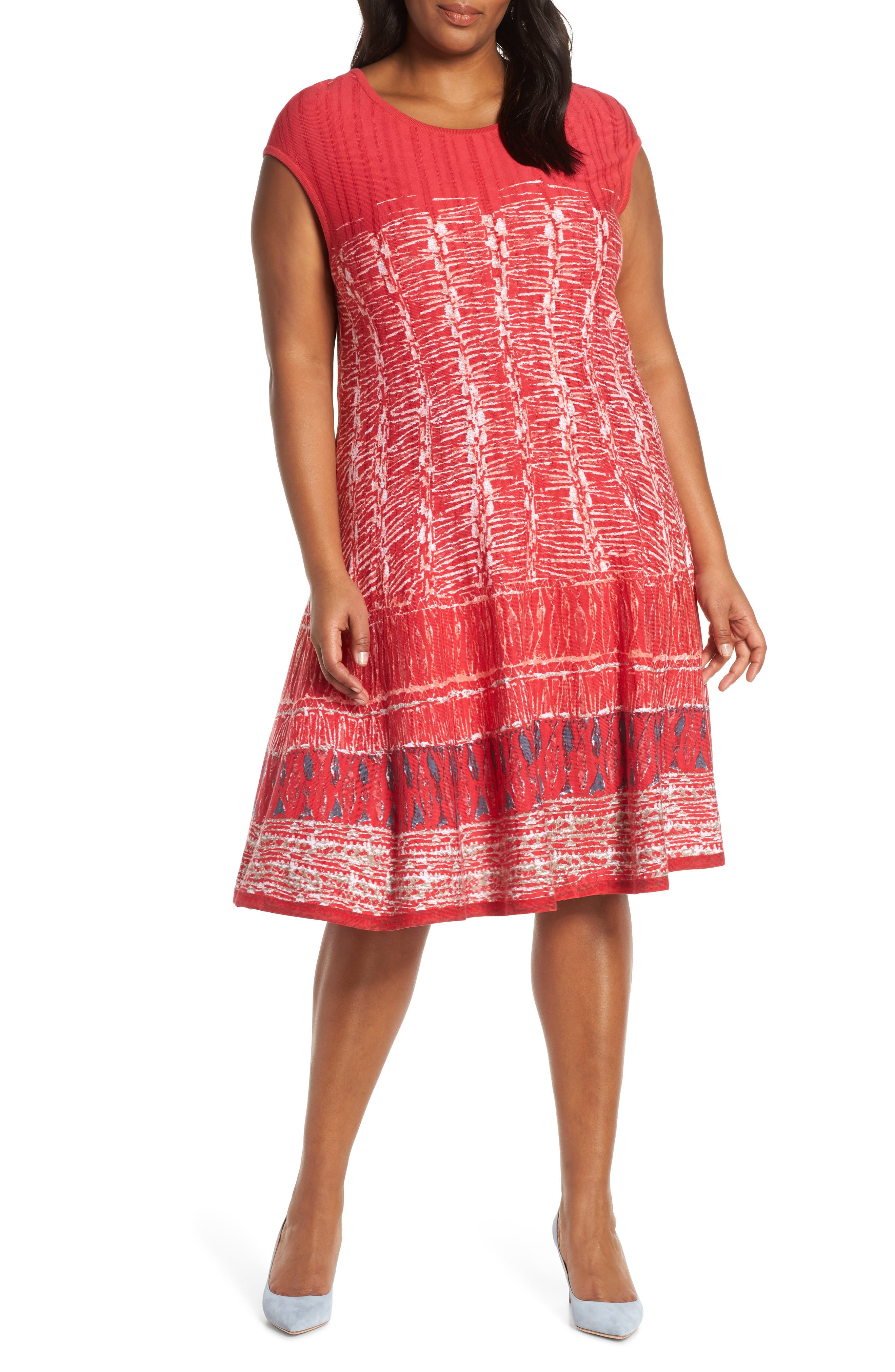 Plus Size Nic+Zoe Garden Party Dress, Red