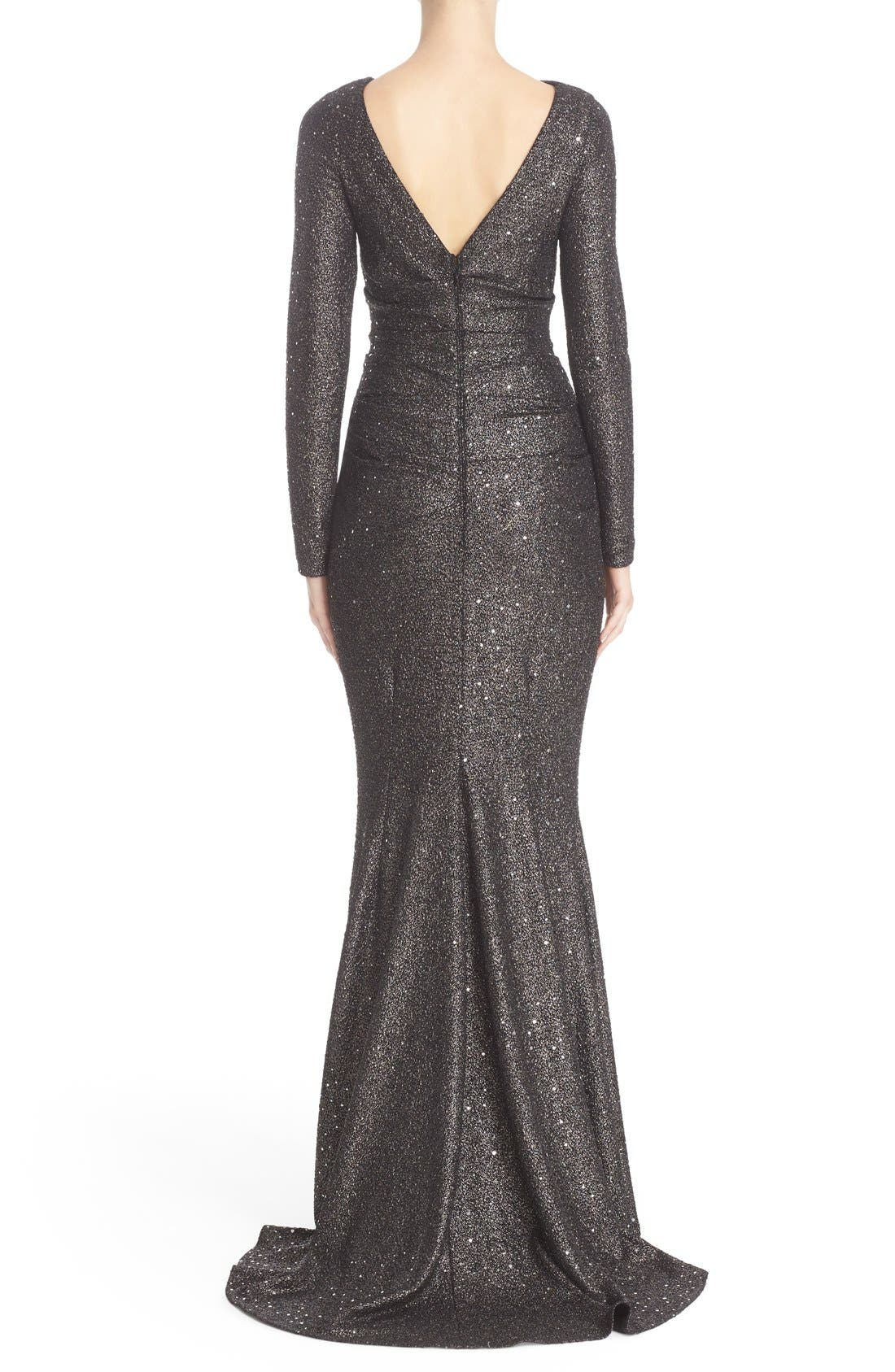 Sequin Glitter Jersey Ruched Gown,                             Alternate thumbnail 3, color,