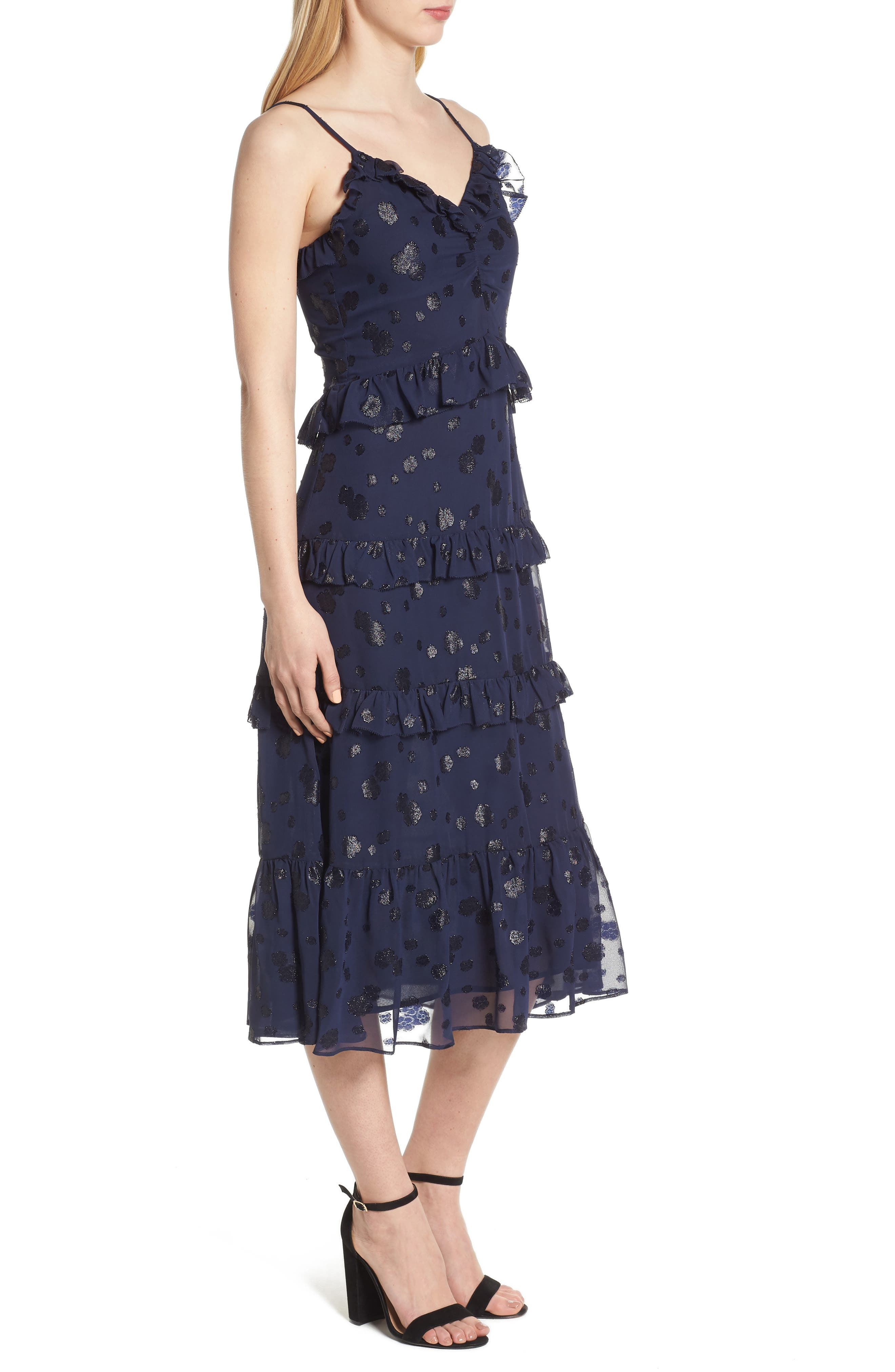 Tiered Ruffle Dress,                             Alternate thumbnail 3, color,                             456