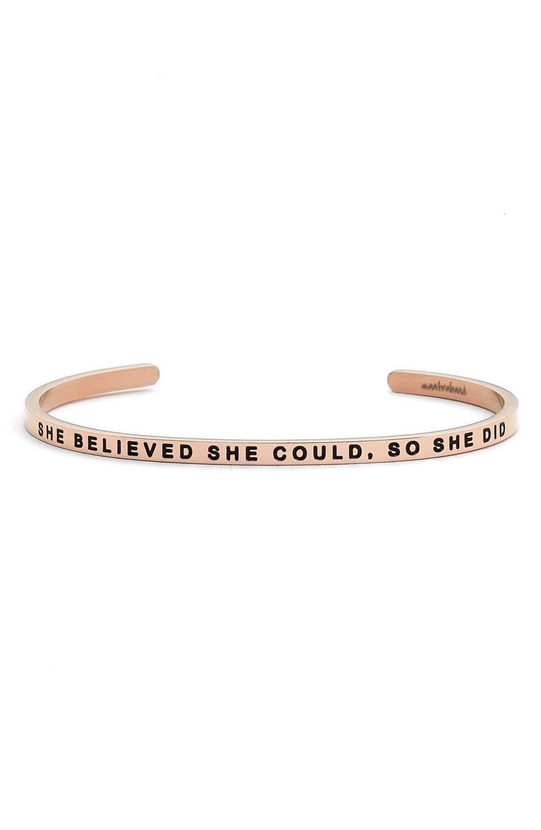 'She Believed She Could' Cuff,                         Main,                         color, ROSE GOLD