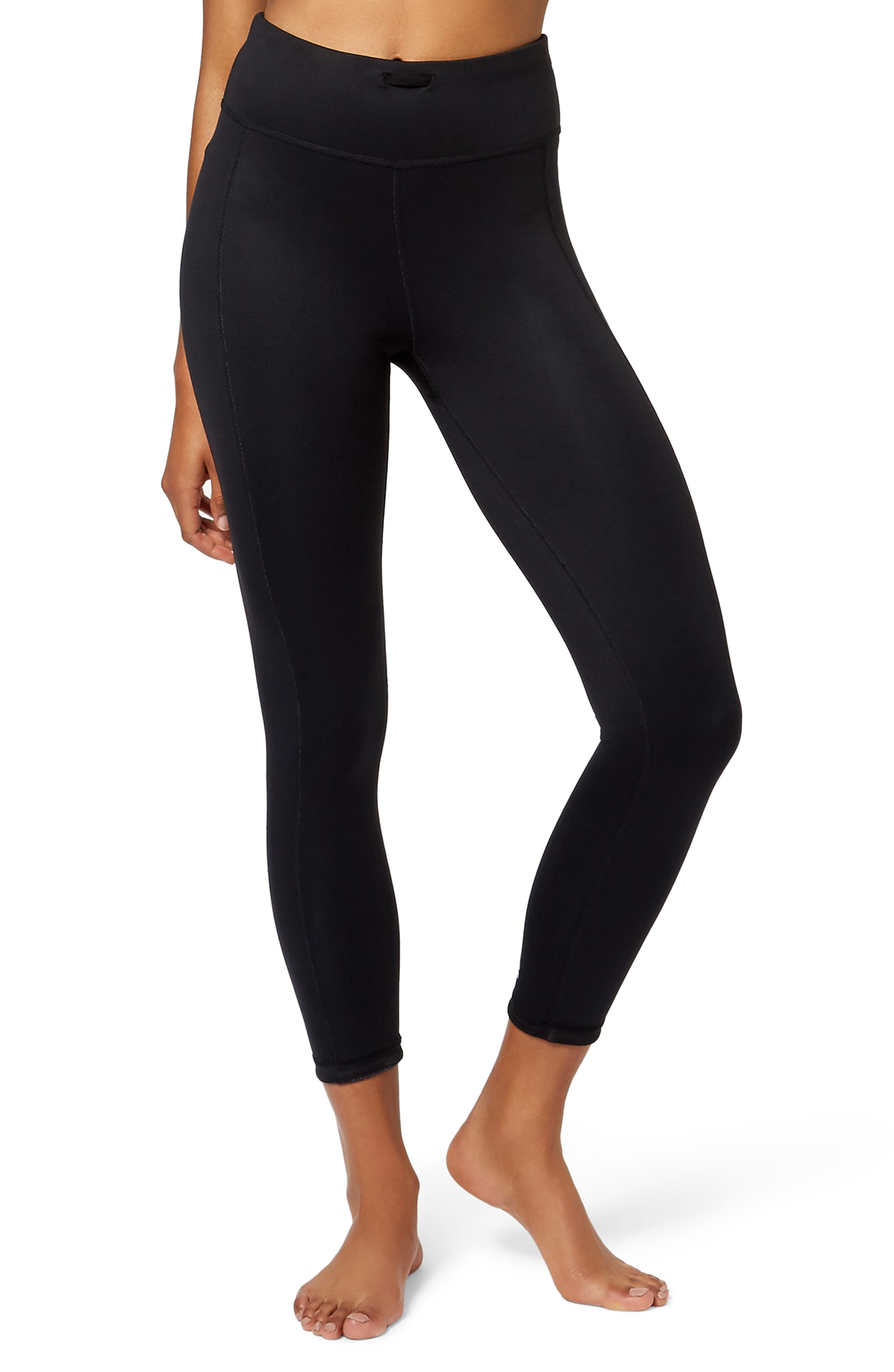 Double Duty Reversible Yoga Leggings,                             Alternate thumbnail 2, color,                             BLACK SPRAY PAINT FLORAL