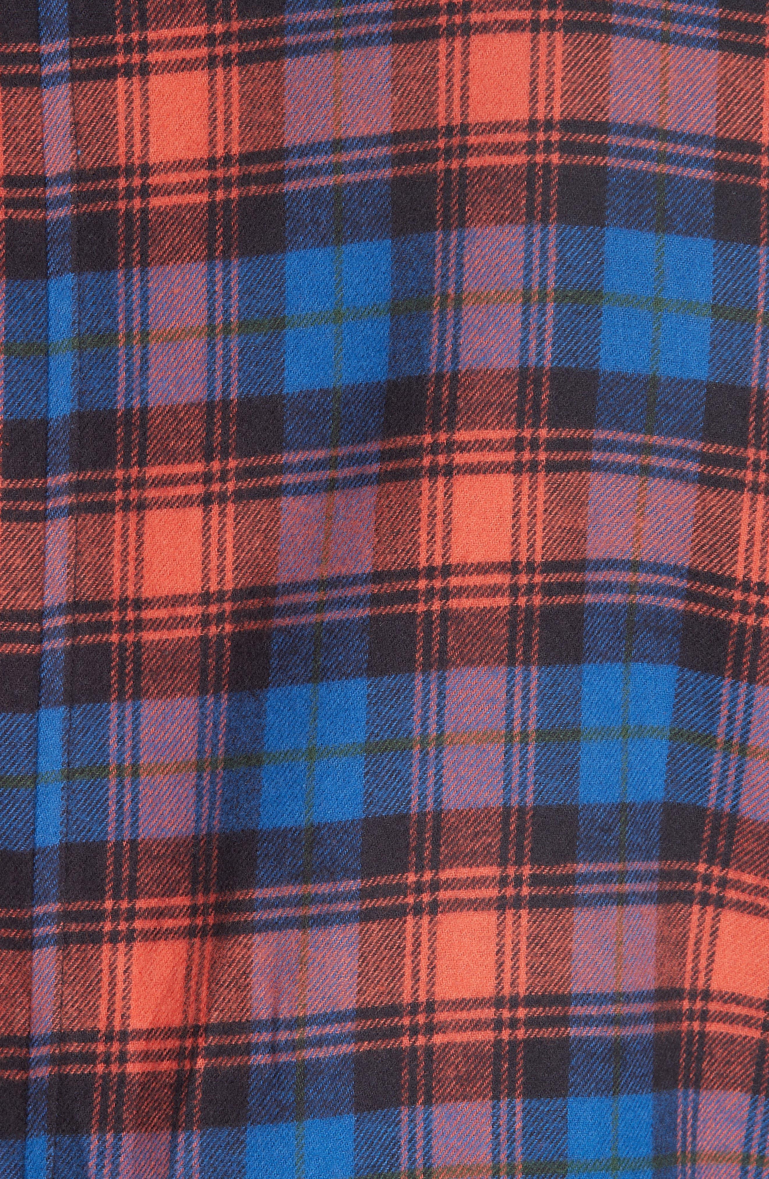 Plaid Flannel Camp Shirt,                             Alternate thumbnail 5, color,                             BLUE PLAID