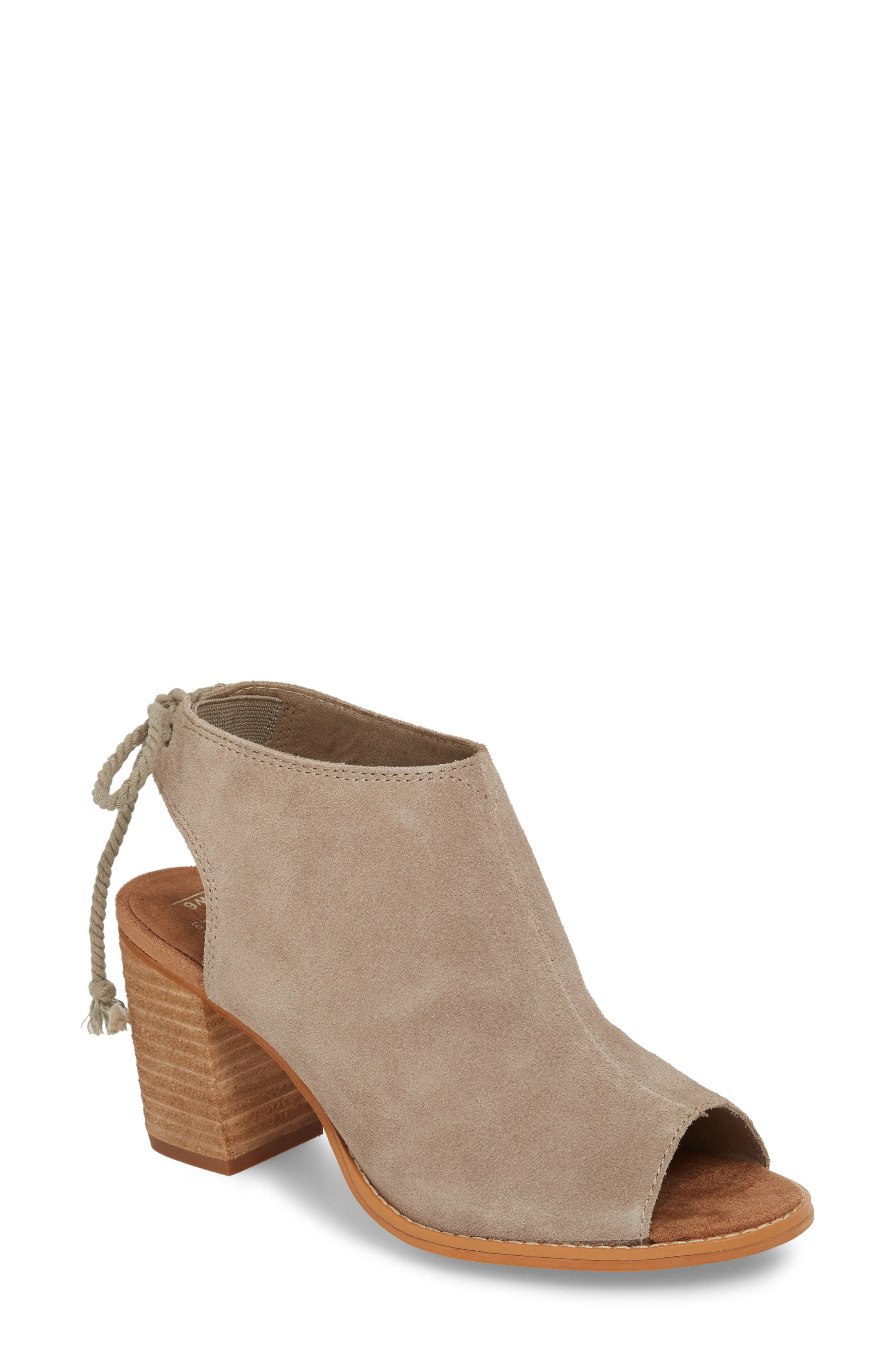 Elba Peep-Toe Bootie,                             Main thumbnail 1, color,                             DESERT TAUPE SUEDE
