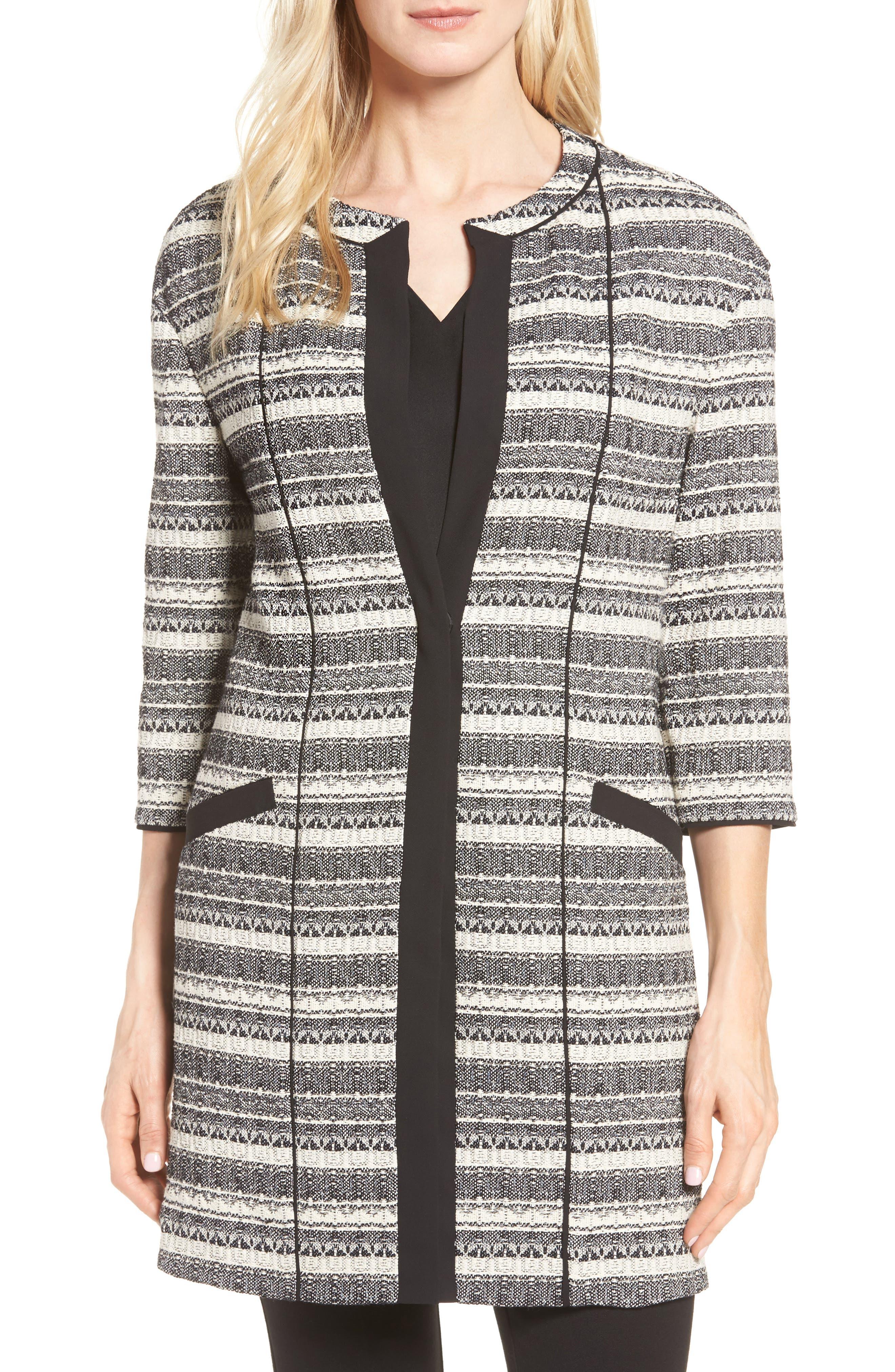Long Stripe Tweed Jacket,                         Main,                         color, 001